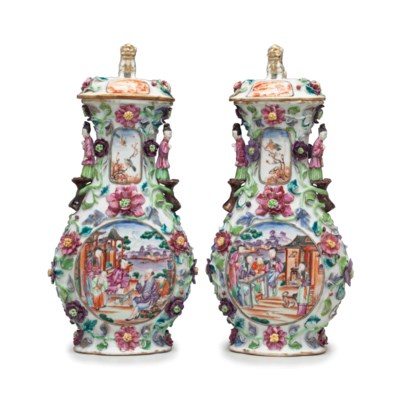 A PAIR OF FAMILLE ROSE VASES A