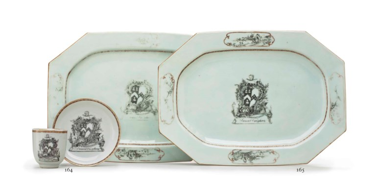 A PAIR OF GRISAILLE ARMORIAL P