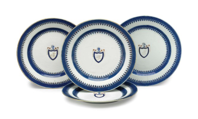 A SET OF FOUR INITIALED DINNER