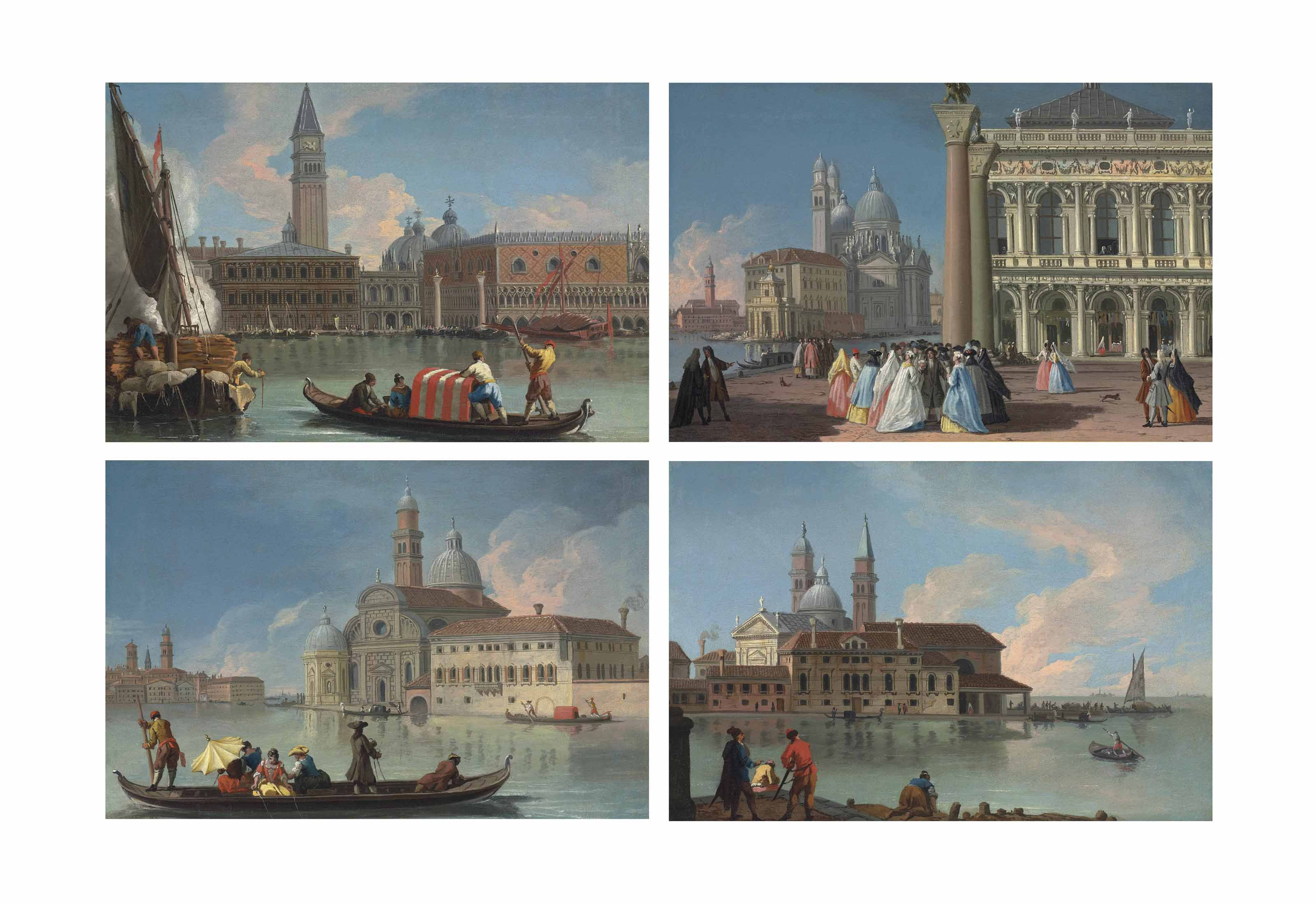 Four views of Venice: The Molo from the Bacino di San Marco, with the Zecca, Campanile and Palazzo Ducale; The Piazzetta looking towards the Libreria Sansoviniana, the Punta della Dogana and Santa Maria della Salute; The Isola di San Biagio with the Benedictine church and convent; and The Isola di San Michele with the church and monastery of San Michele in Isola