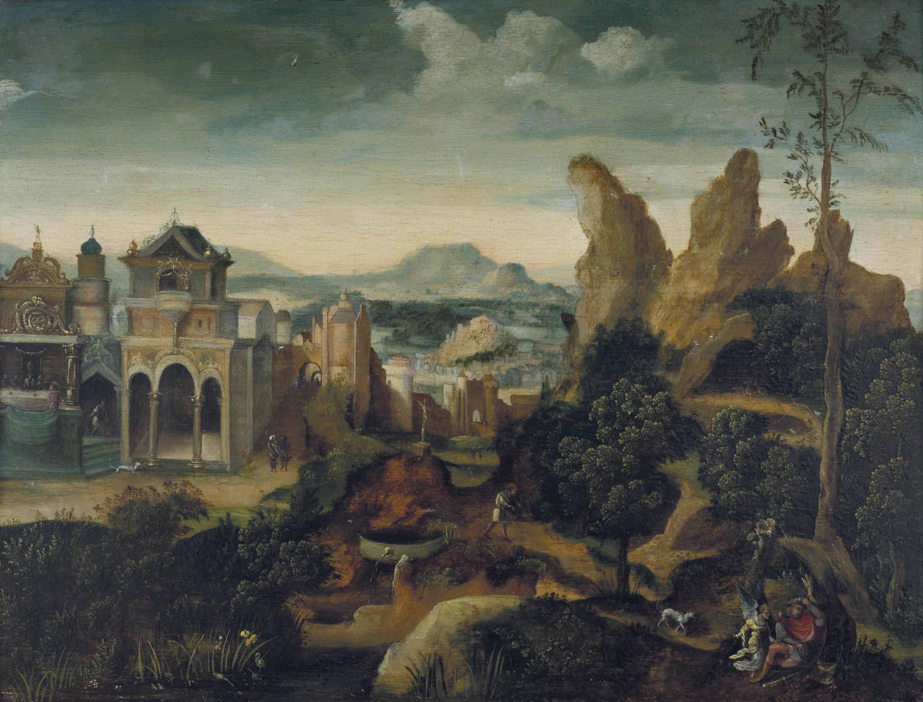 A mountainous landscape with the Feast of Herod and the Dream of Joseph