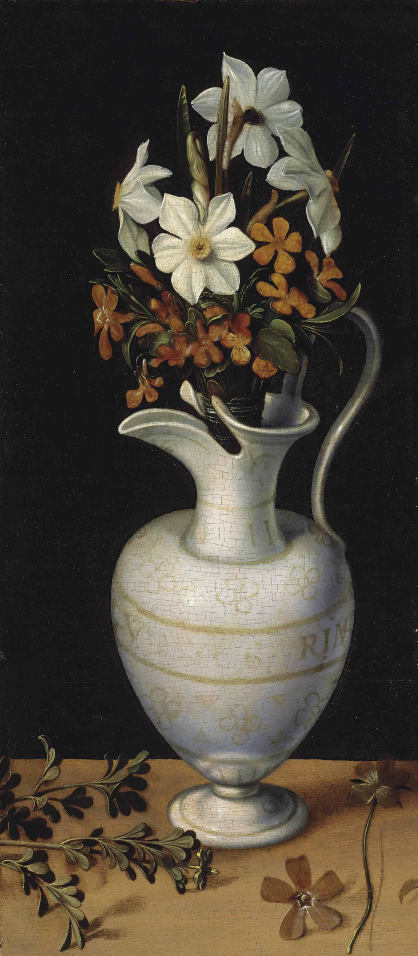 Narcissi, calamine violets and periwinkle in a façon-de-Venise ewer, on a ledge with a sprig of rue