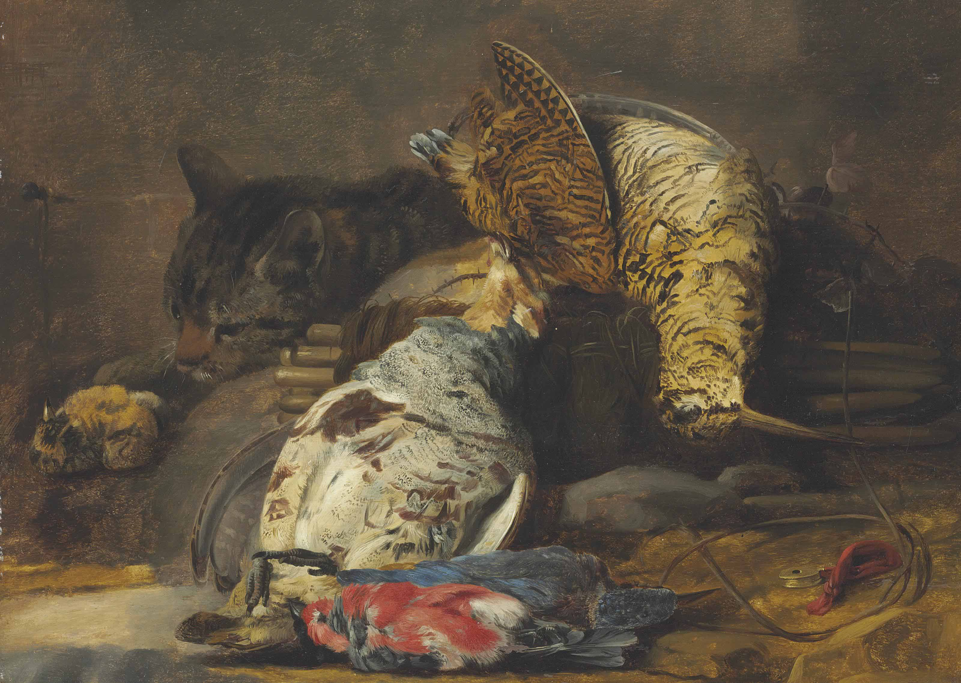 A woodcock, partridge, kingfisher, finches and a cat, with a decoy whistle and a wooden snare
