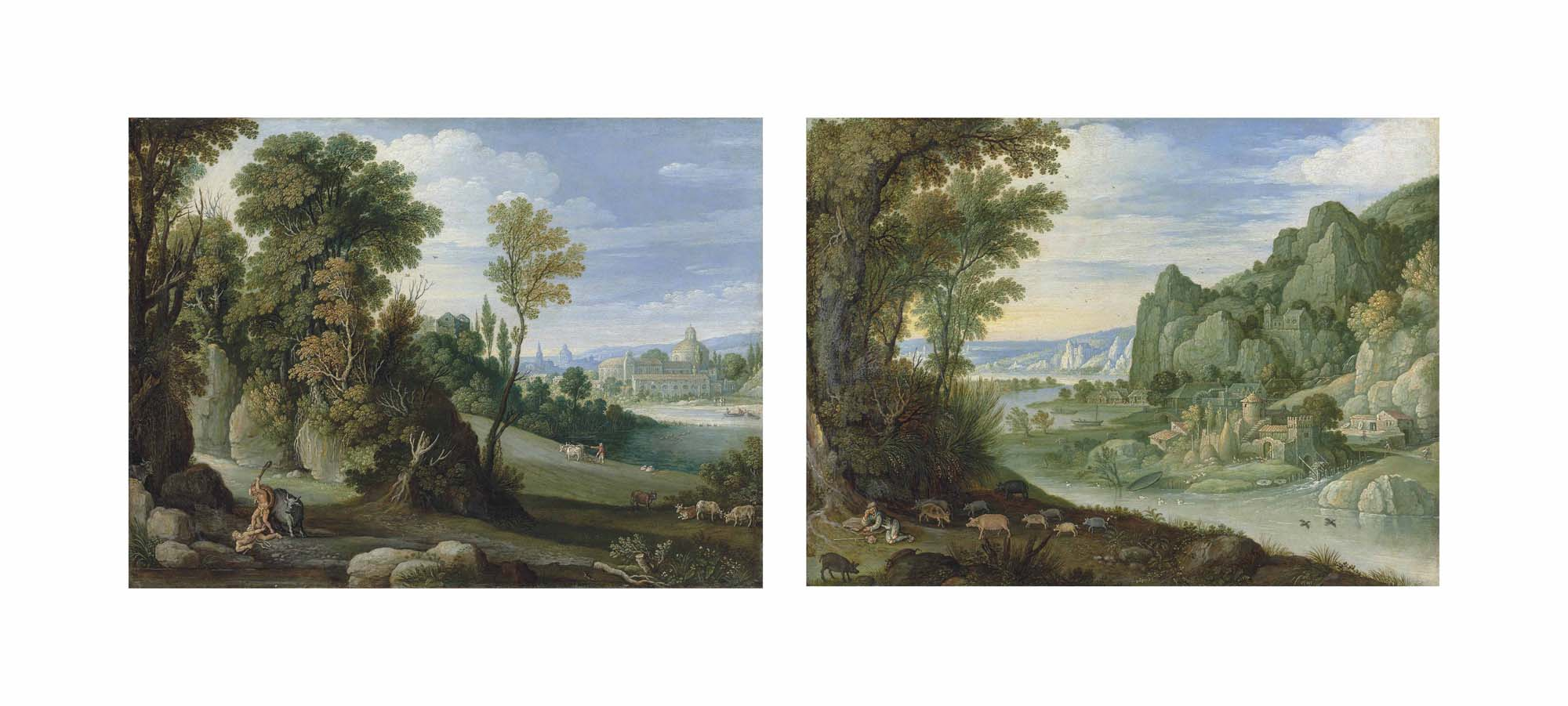 A wooded landscape with Hercules and Cacus; and A mountainous river landscape with the Prodigal Son