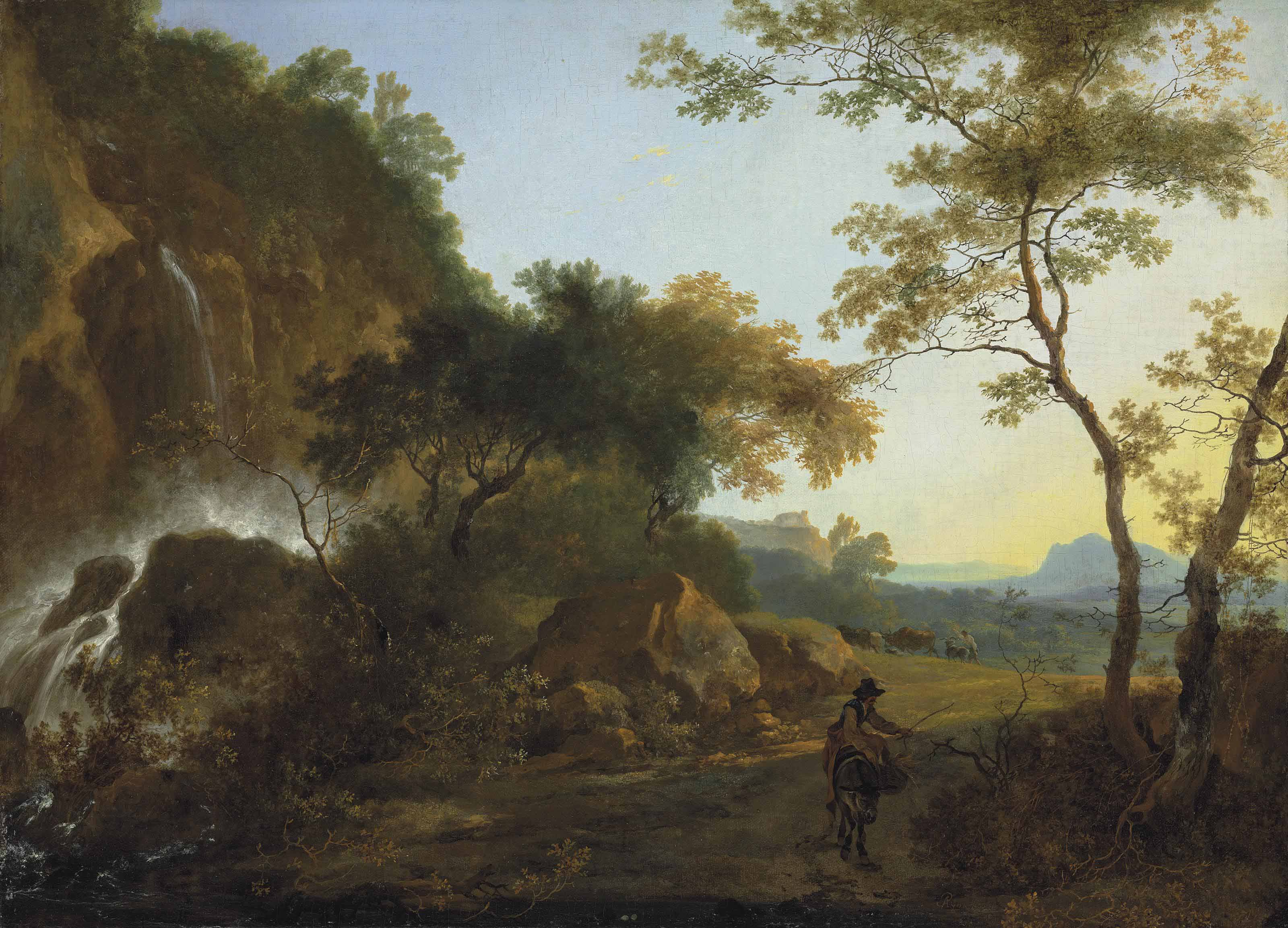 An Italianate landscape with a traveler on a path by a waterfall