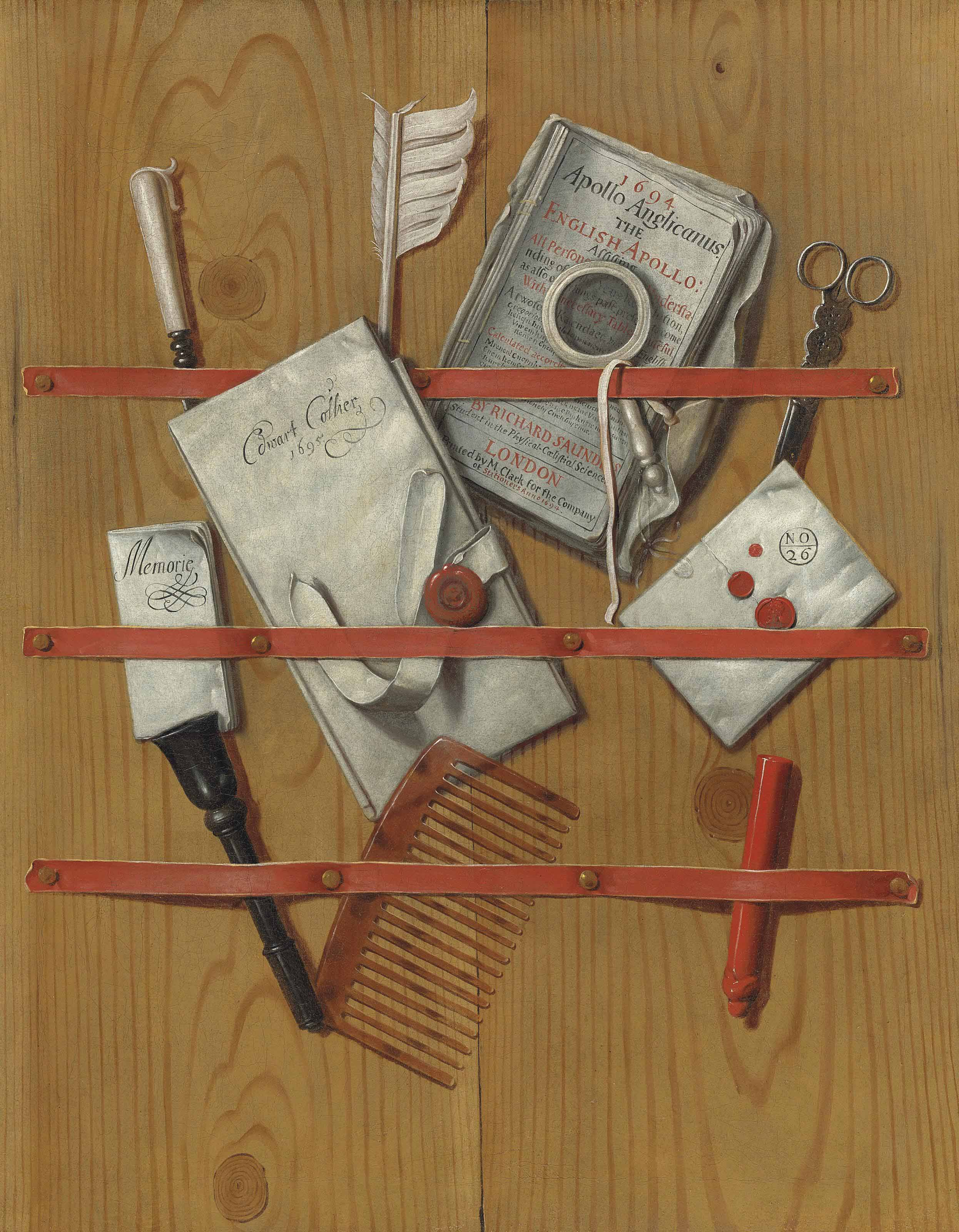 A trompe l'oeil of letters, a newspaper, a quill, a magnifying glass and other objects assembled behind ribbons upon wooden boards