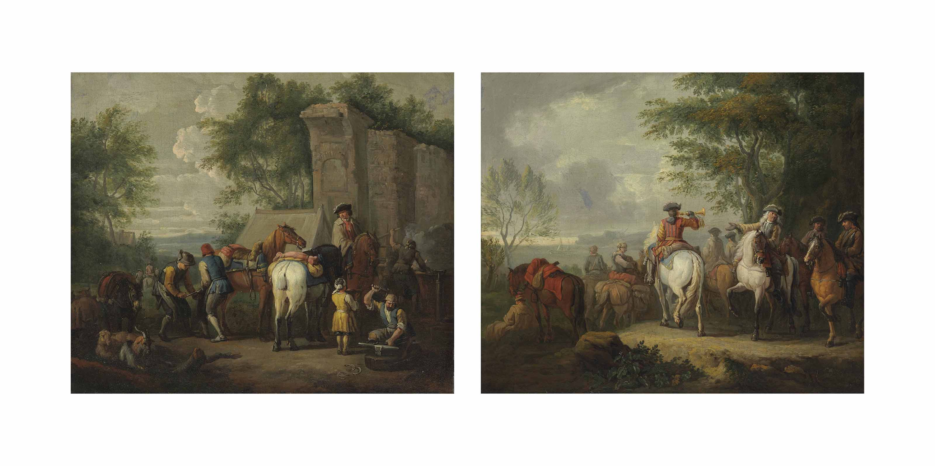 Cavaliers setting off on a journey; and A military blacksmith shoeing horses by a ruin