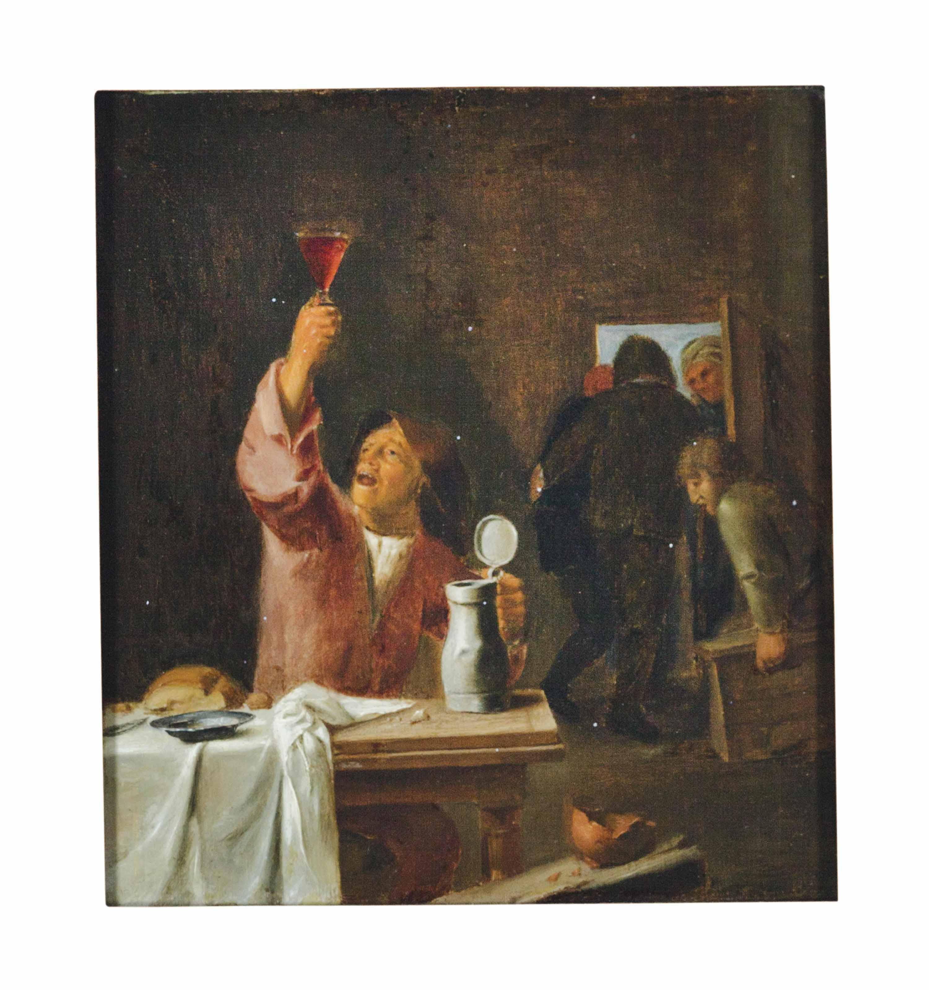 Tavern scene with a seated man holding a glass of wine