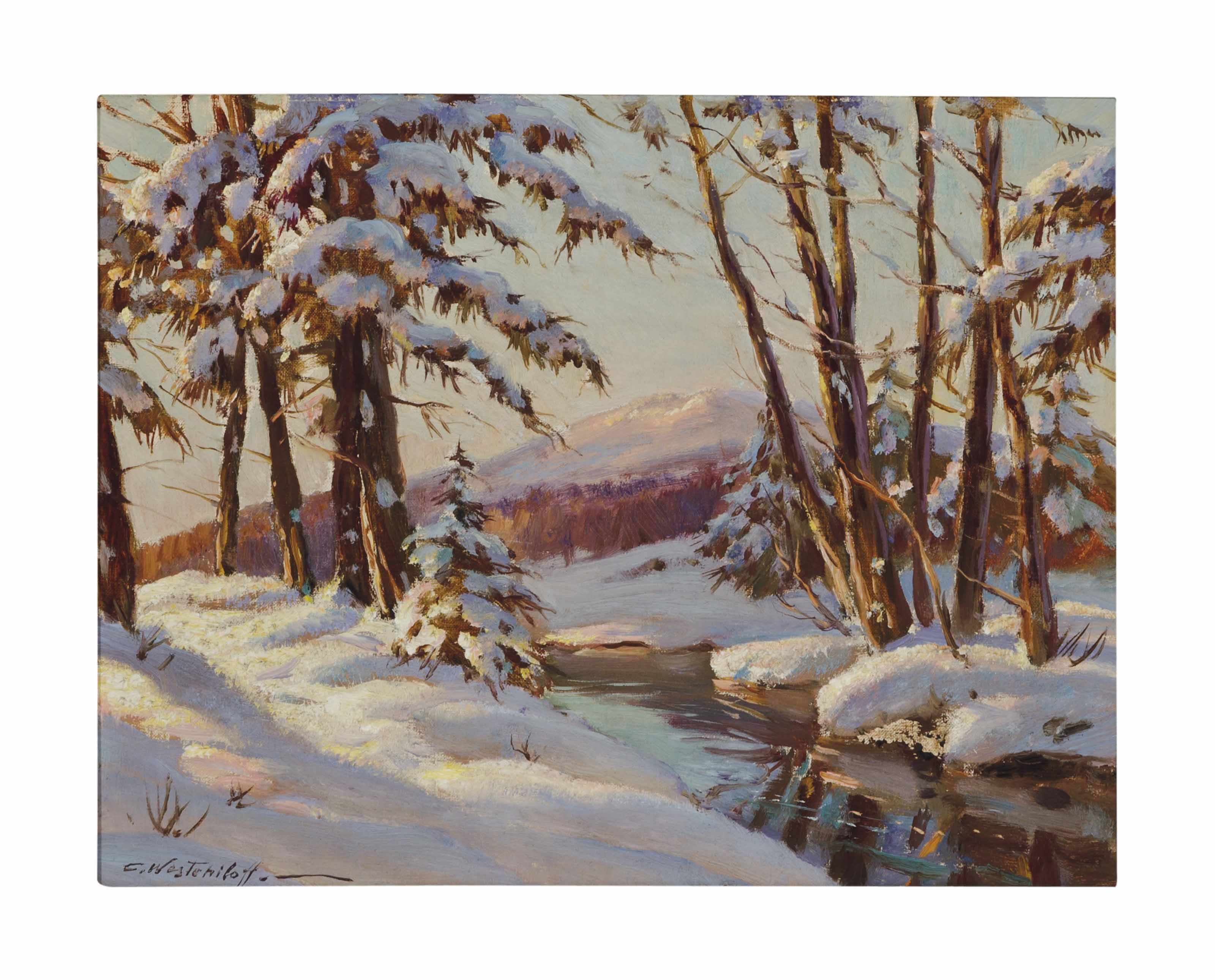 A Winter landscape; and a companion painting