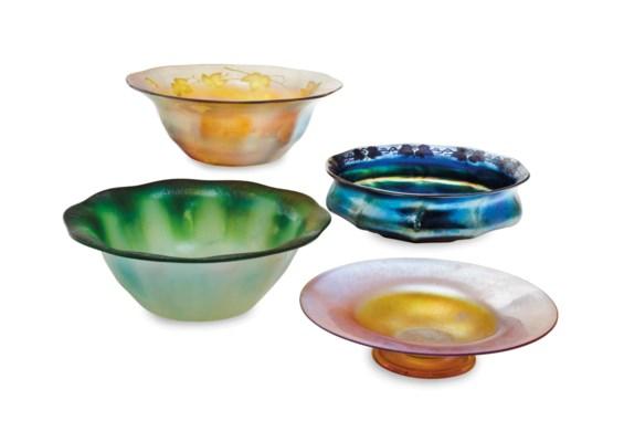 FOUR AMERICAN FAVRILE GLASS LA