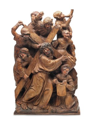 A CARVED OAK RELIEF OF CHRIST
