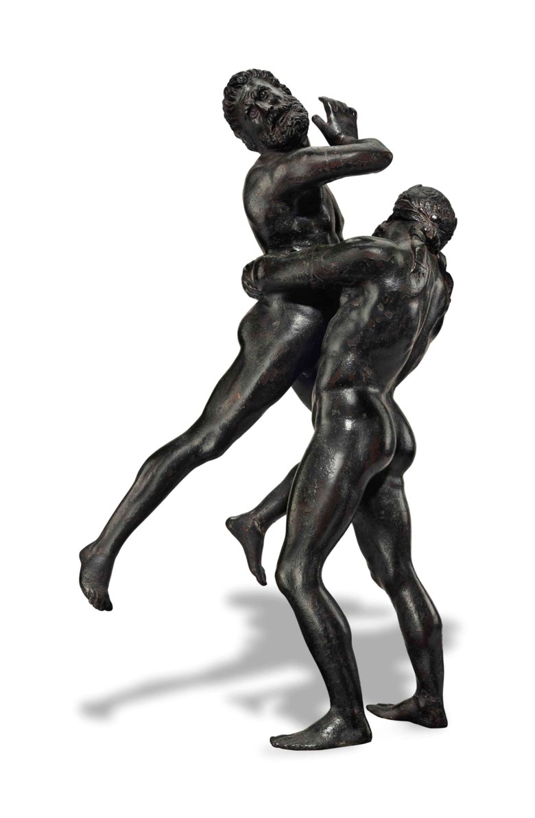 A bronze group of Hercules and Antaeus, Circle of Vittore Gambello, called 'Camelio' (circa 145560-1537), north Italian, early 16th century. 14  in (35.5  cm) high; 21  in (53.5  cm) high, overall. Sold for $197,000 on 28 January 2015  at Christie's in New York