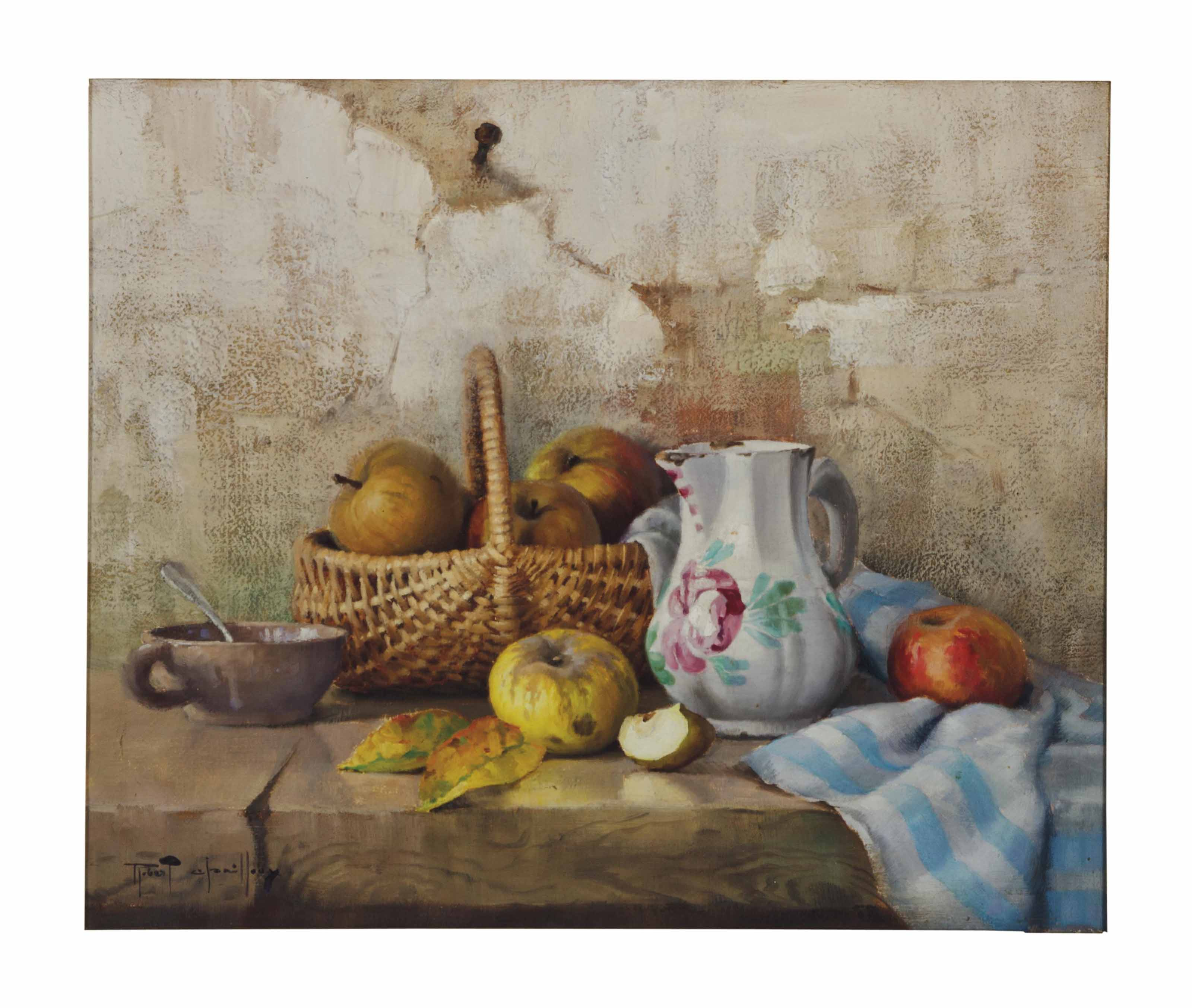 Still life with pitcher and apples in a whicker basket