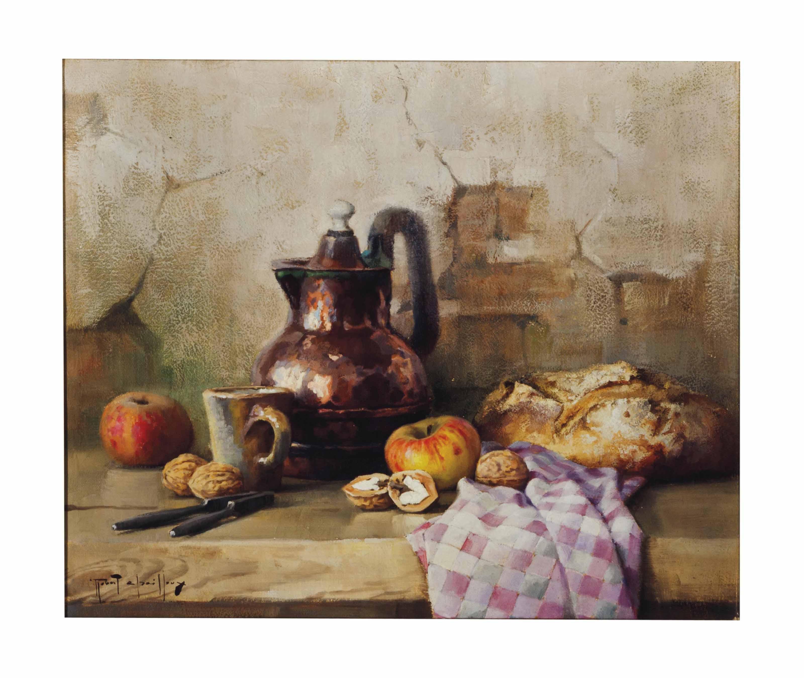 Still life with tankard, bread, apples and walnuts