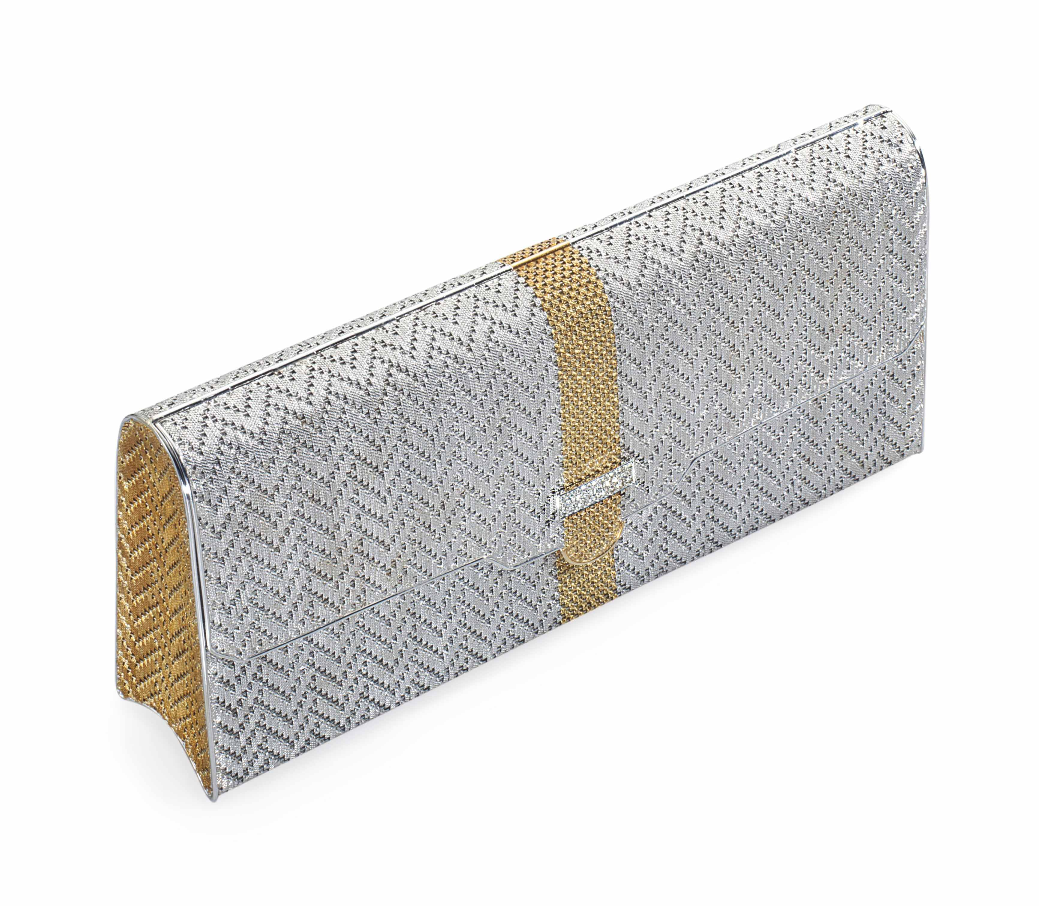 A DIAMOND AND GOLD EVENING BAG, BY GUCCI