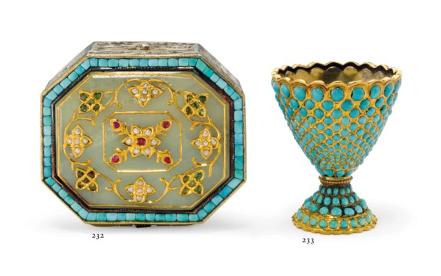 A GOLD, SILVER-GILT AND TURQUO