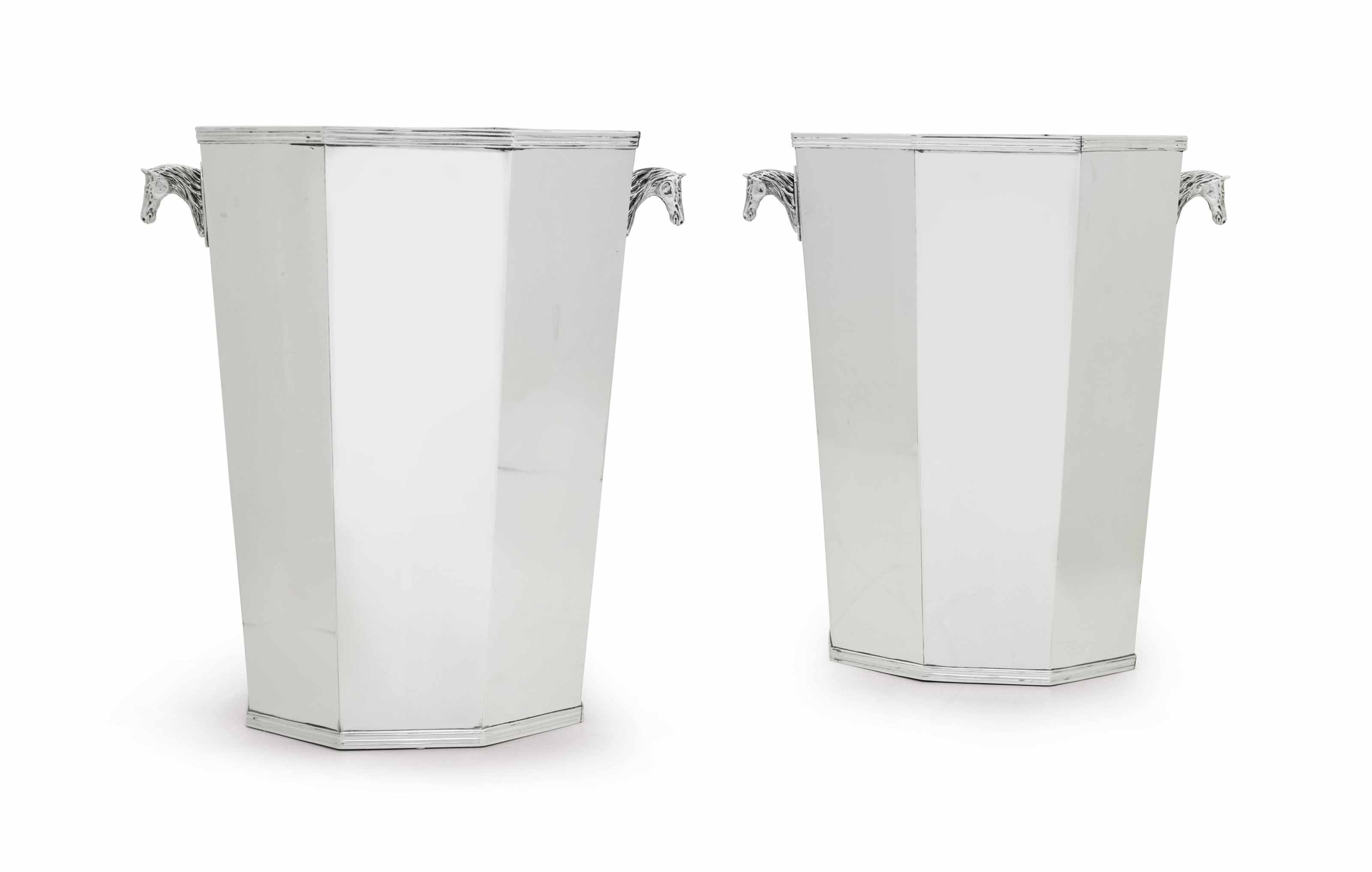 A PAIR OF MONUMENTAL FRENCH SILVER WINE COOLERS
