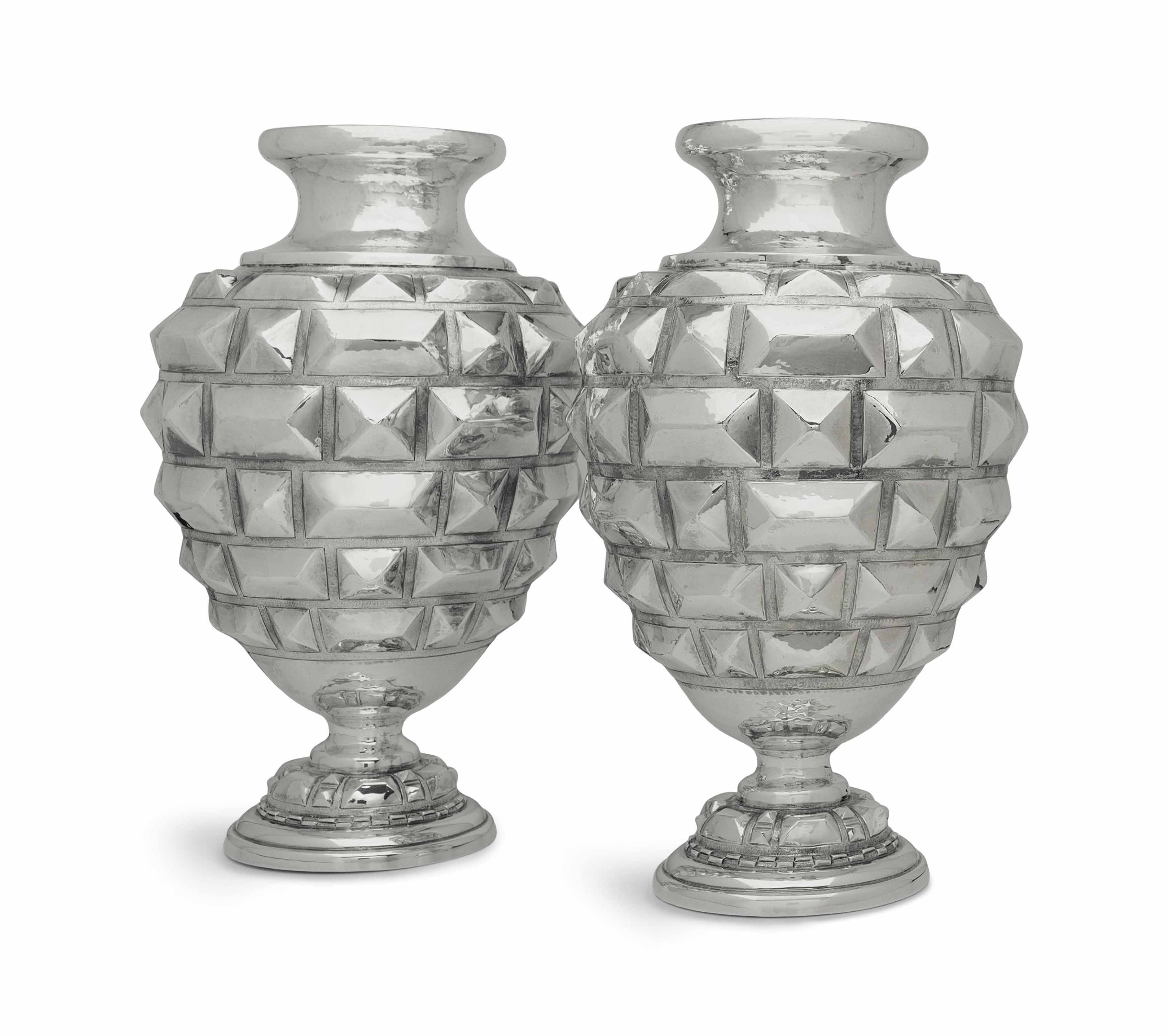 A PAIR OF LARGE ITALIAN SILVER VASES