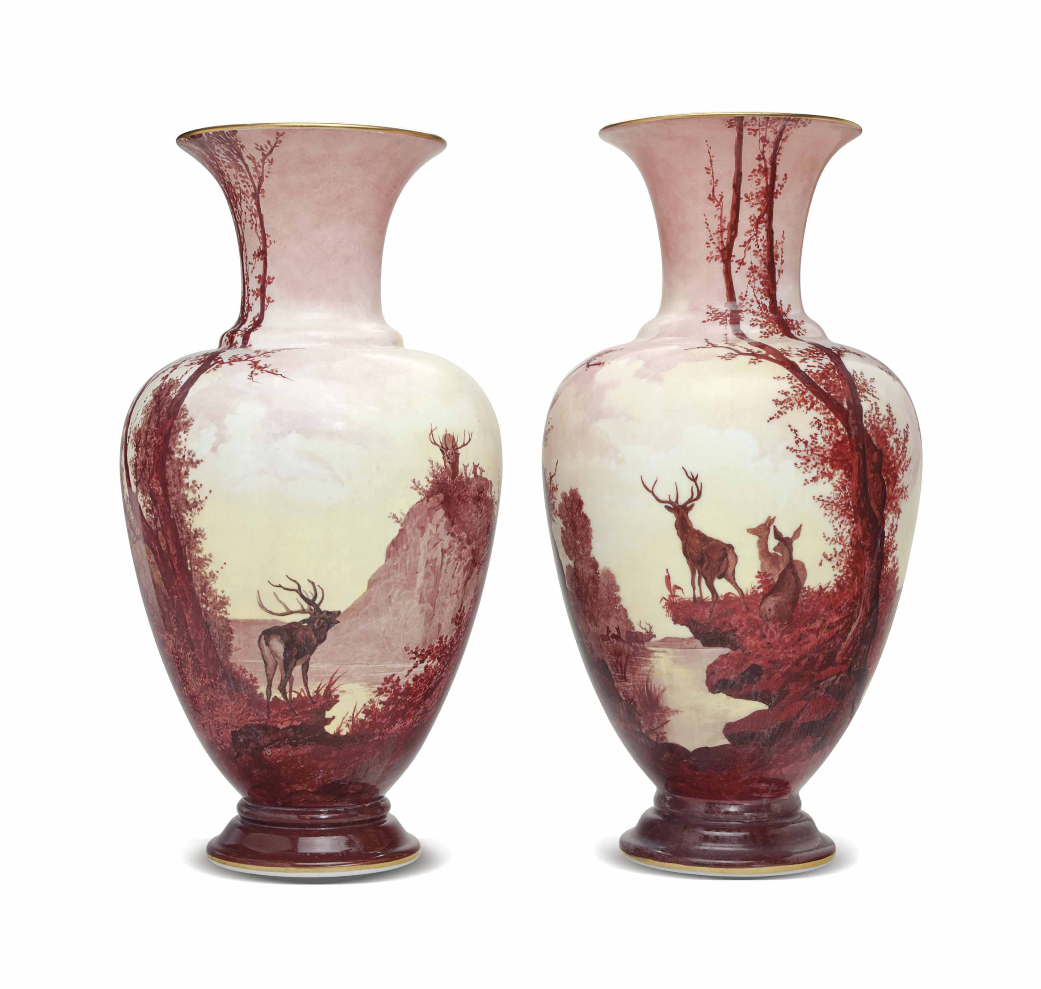 A PAIR OF BACCARAT OPALINE GLASS VASES