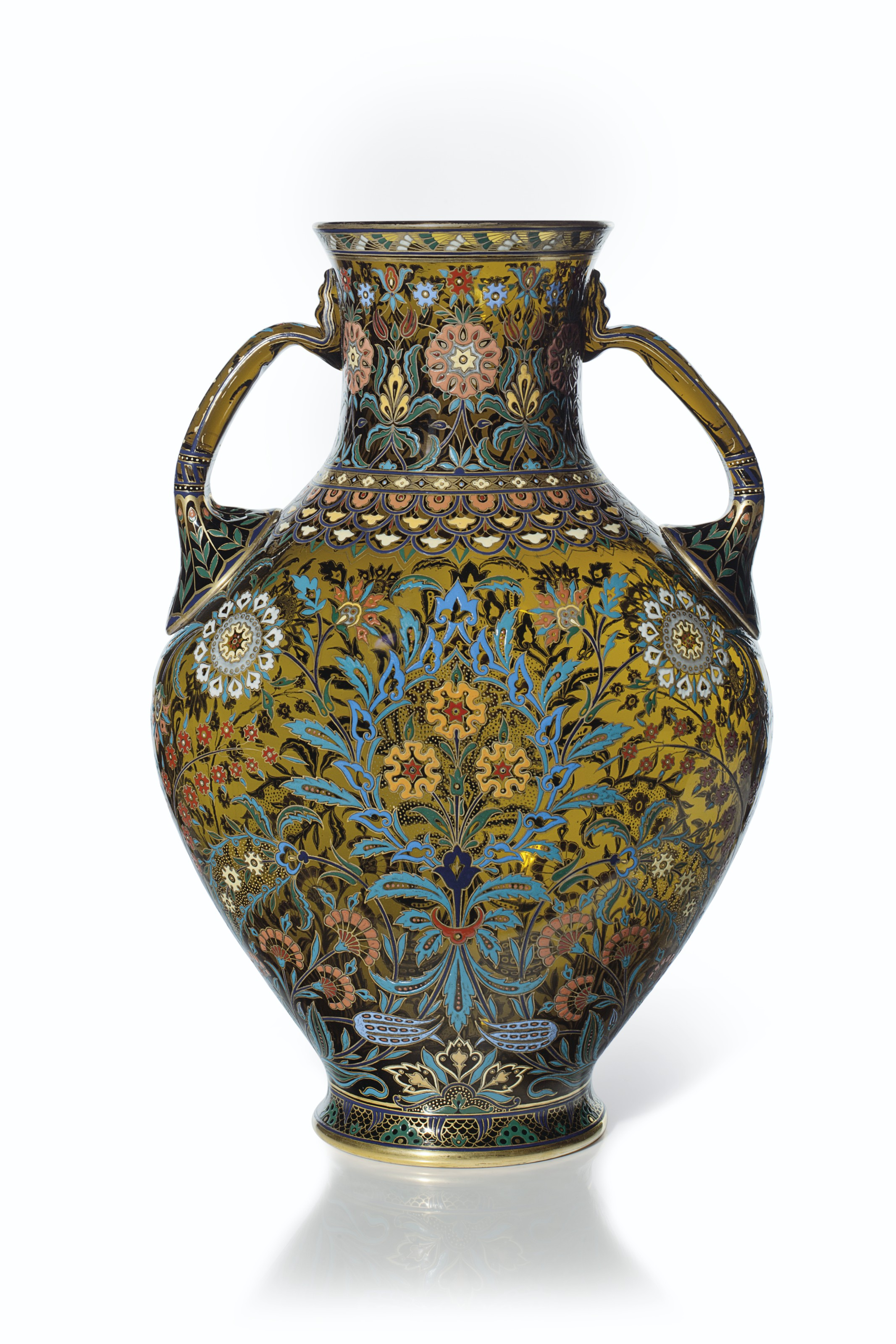 A LARGE J. & L. LOBMEYR TWO-HANDLED ENAMELED 'PERSIAN STYLE' AMBER GLASS VASE