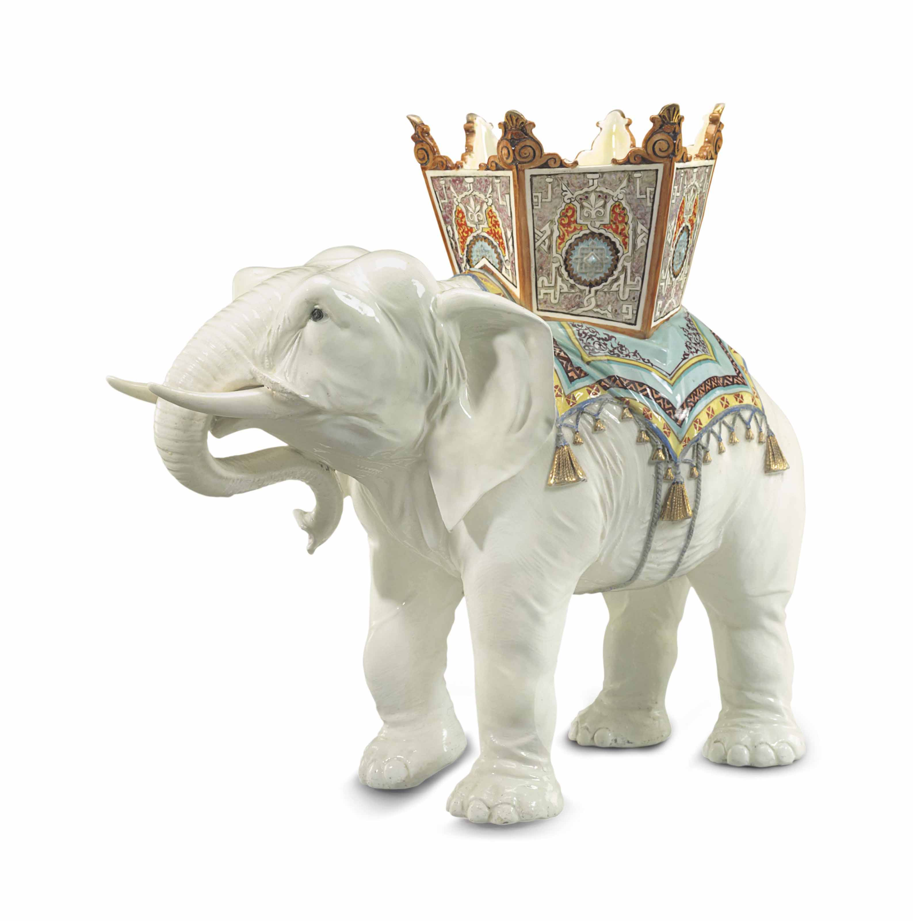 A LARGE MASSIER MAJOLICA ELEPHANT FORM JARDINIERE