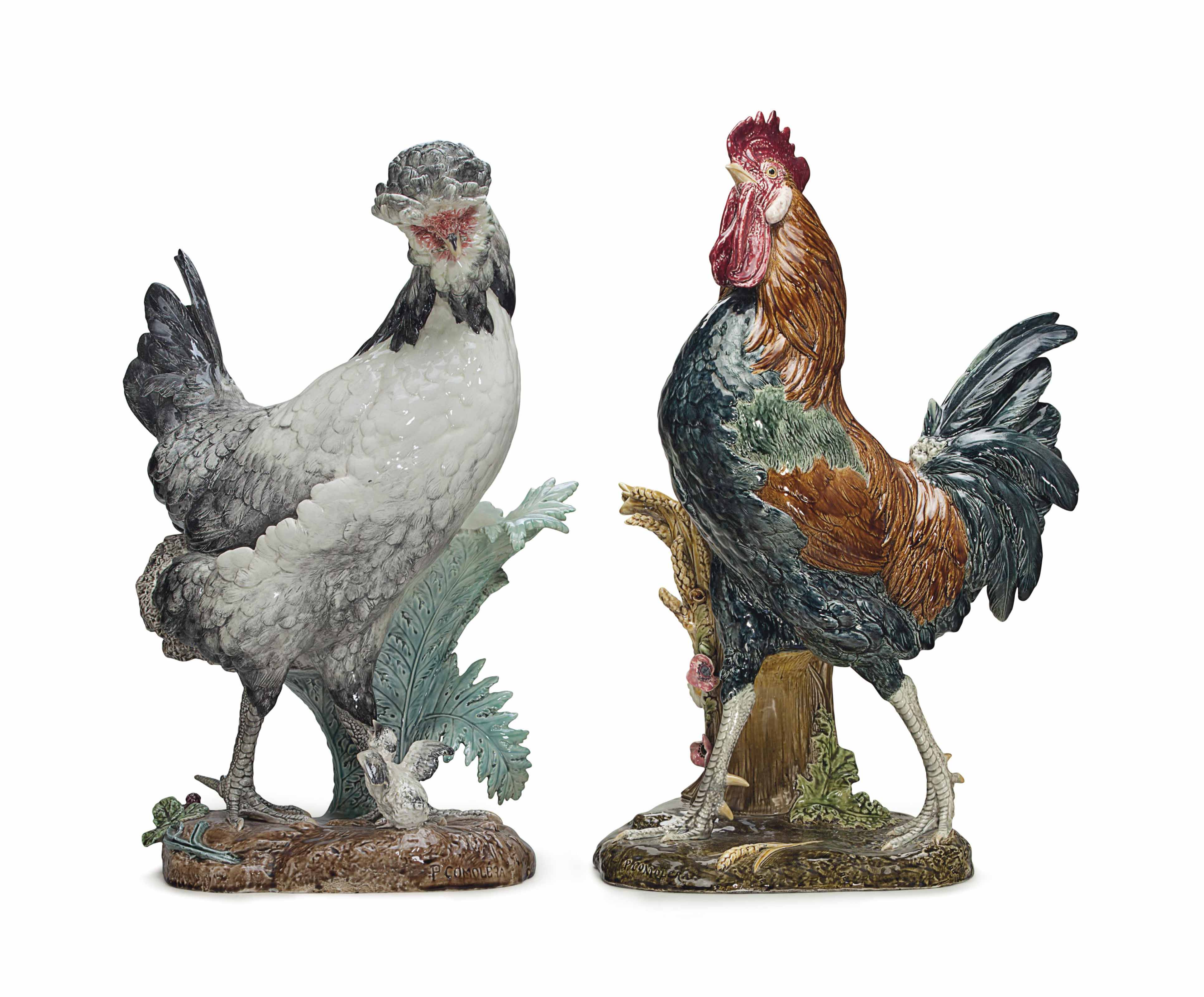 A PAIR OF CHOISY-LE-ROI (HAUTIN & BOULANGER) MAJOLICA MODELS OF A COCKEREL AND A HEN AND CHICK (POULE DE HOUDAN)