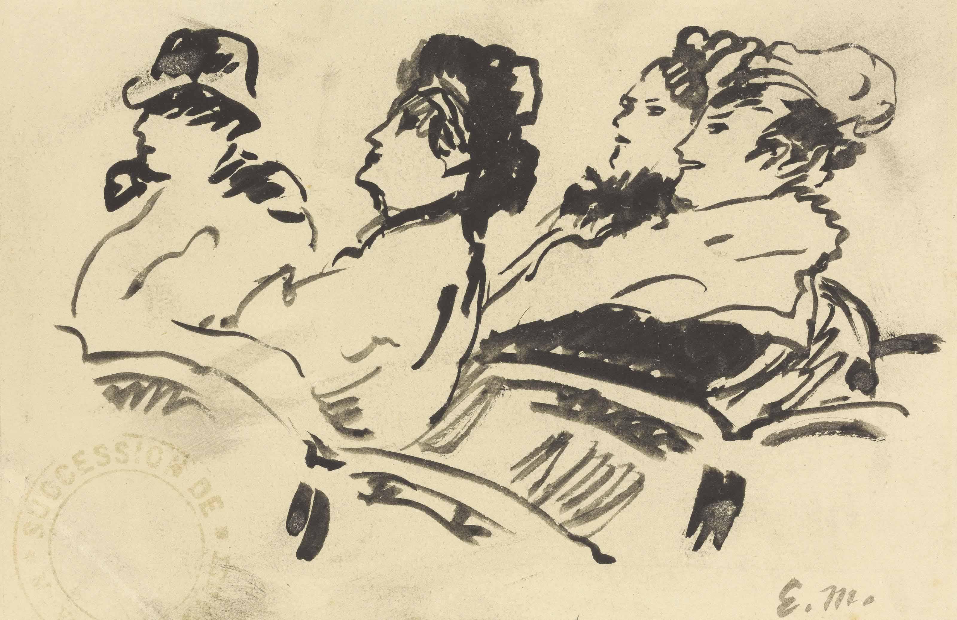 Quatre personnages au théâtre