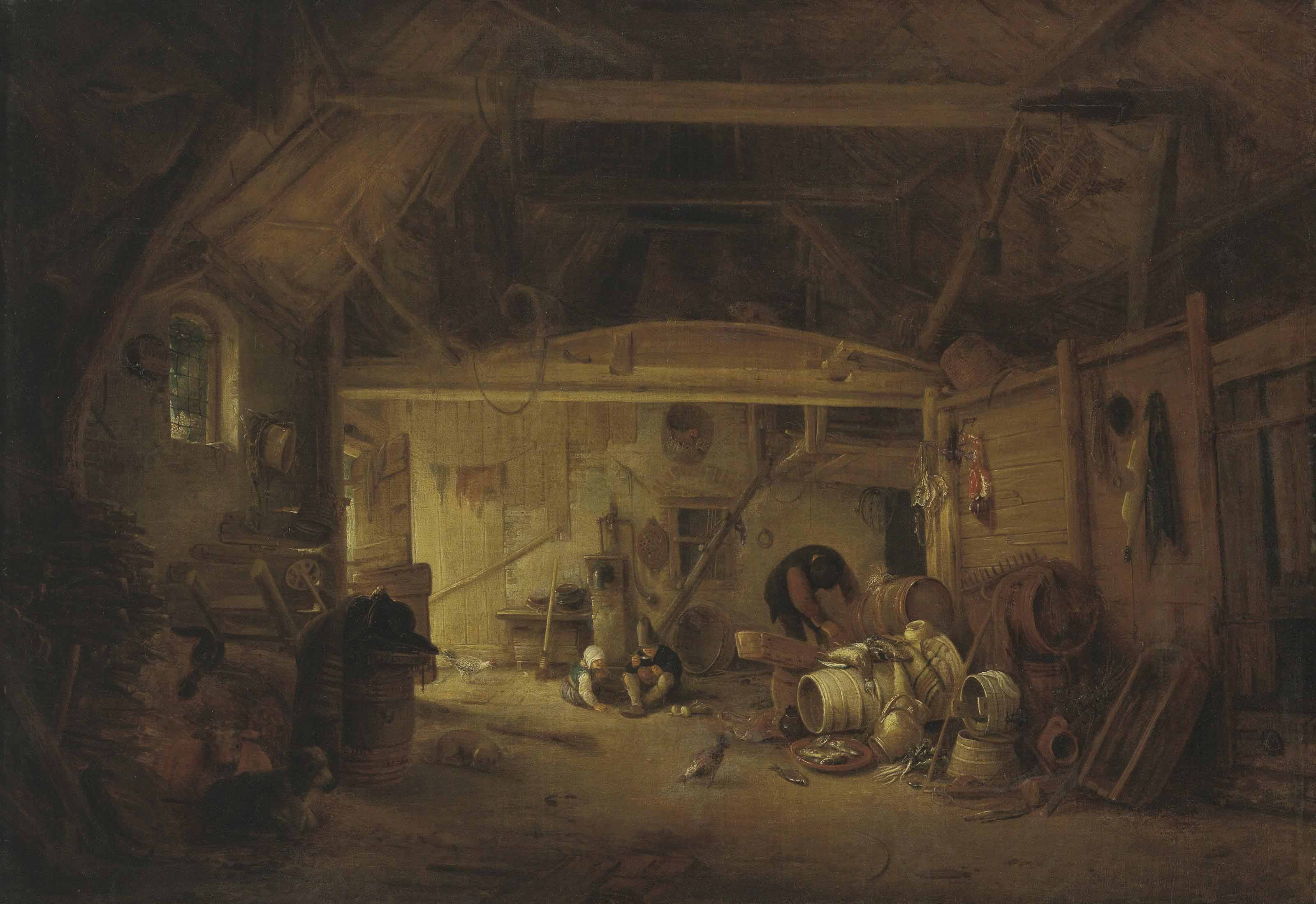 A barn interior with two children eating and a man working