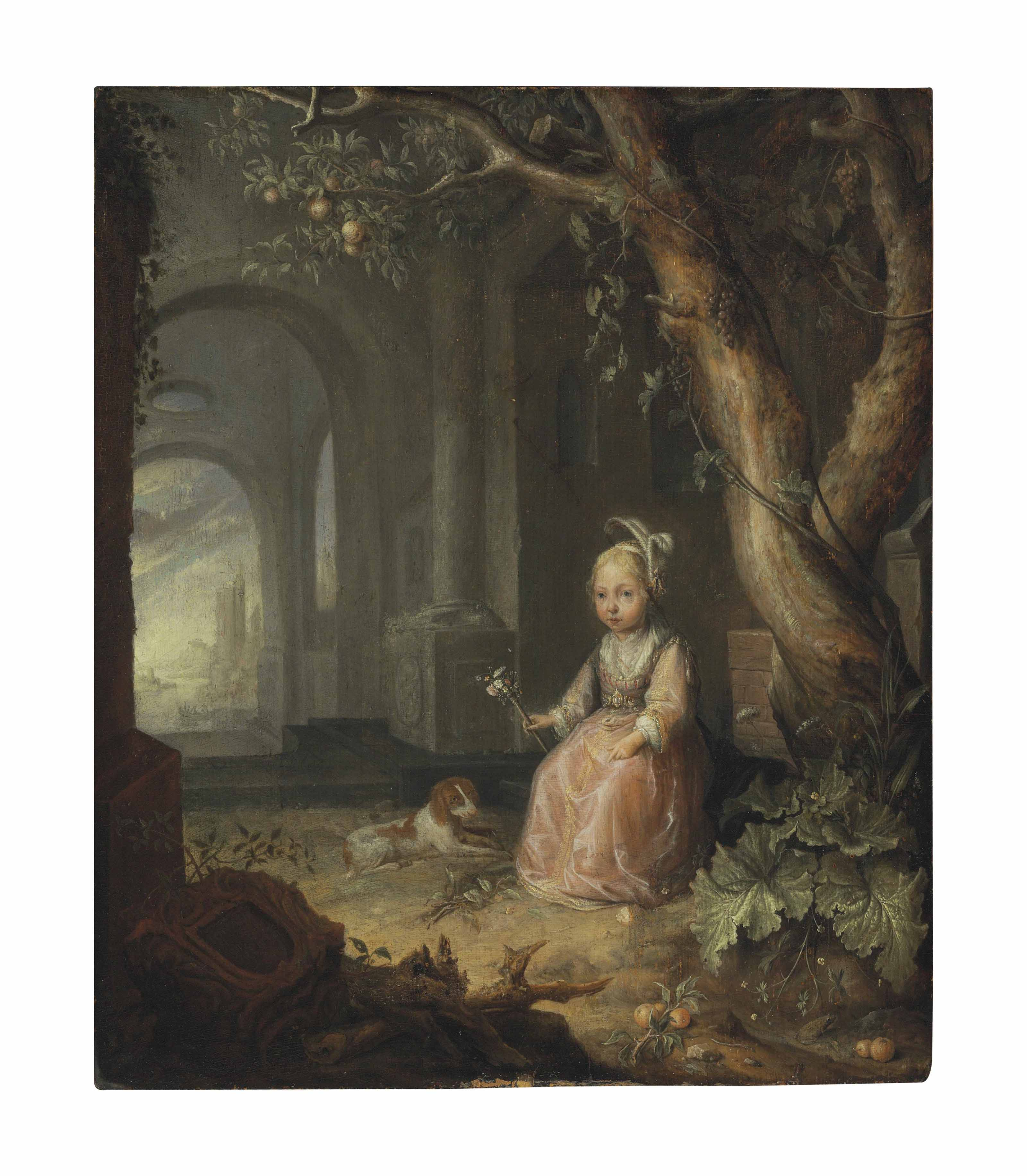 Portrait of a girl with her dog in a courtyard, a landscape with ruins beyond