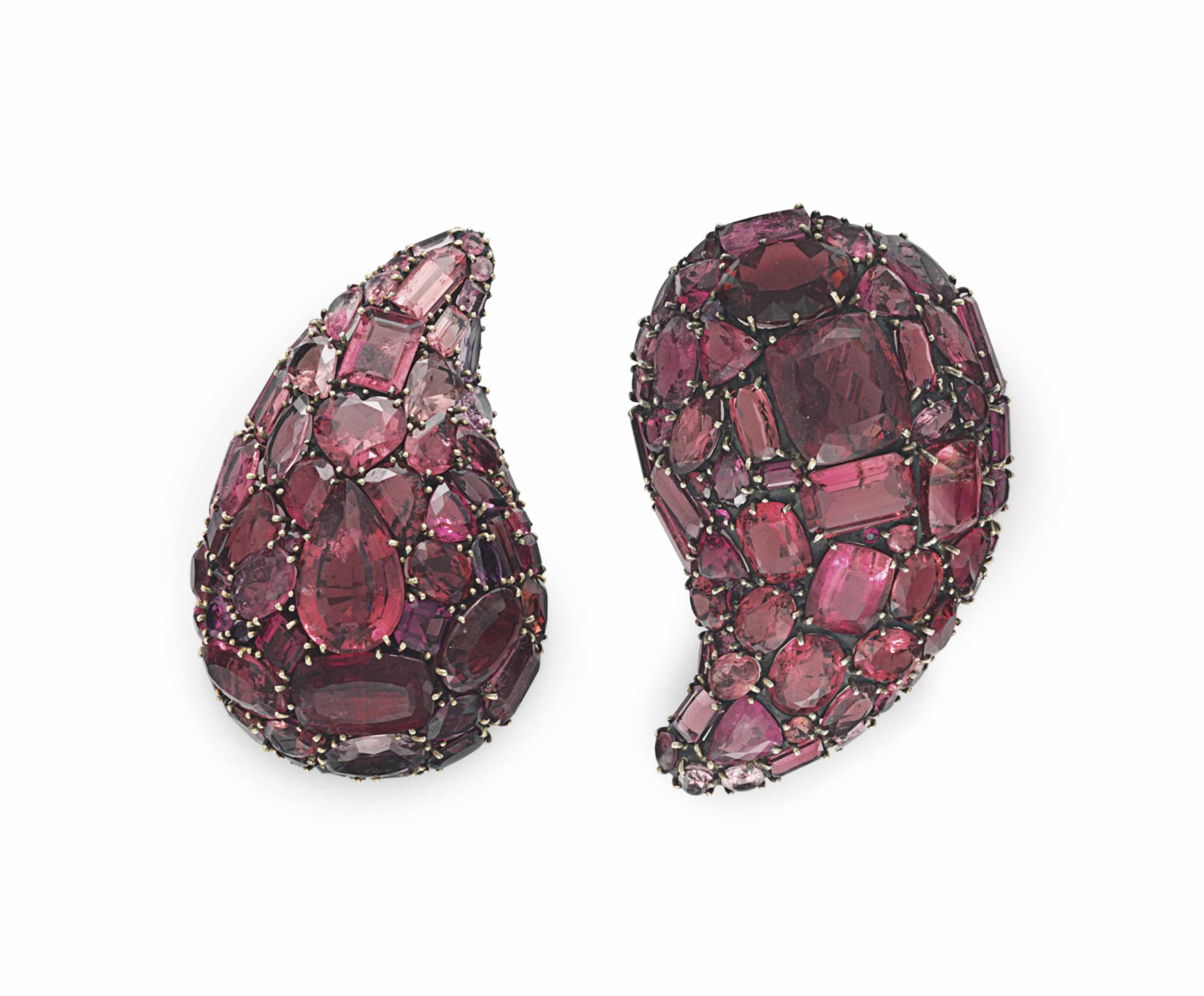 TWO PINK AND PURPLE TOURMALINE BROOCHES, BY MARILYN COOPERMAN
