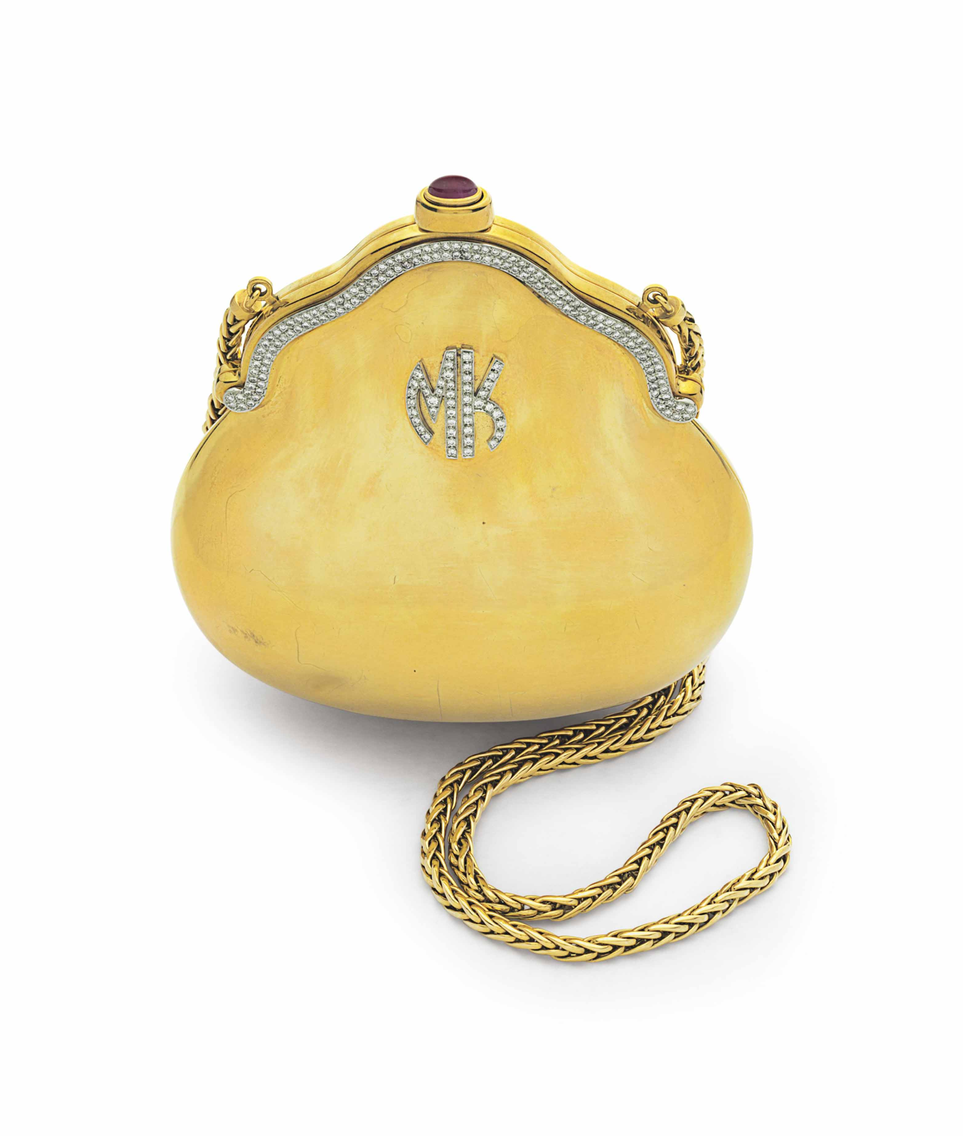 A GOLD, DIAMOND AND RUBY EVENING BAG, BY JUDITH LEIBER