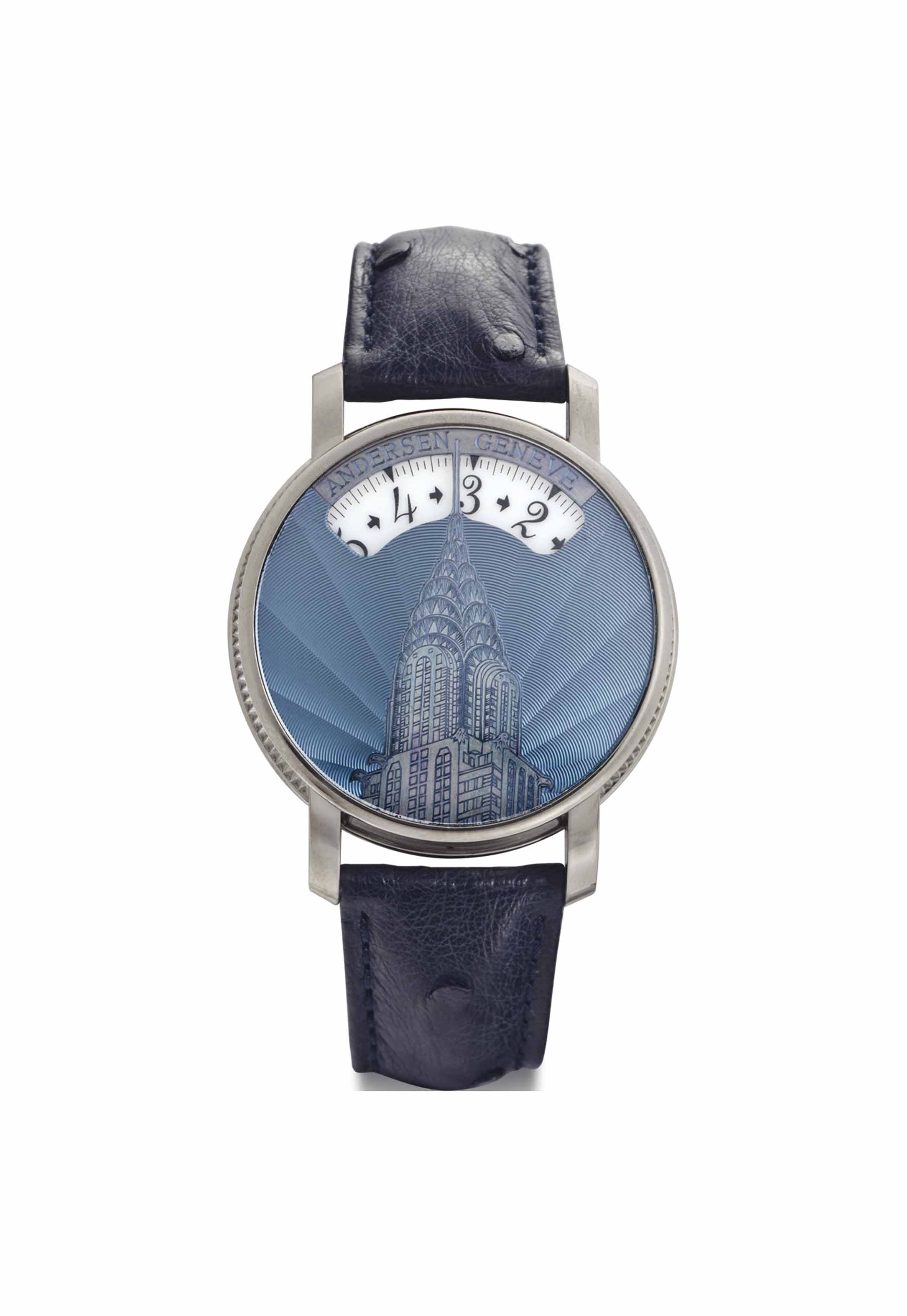 Svend Andersen. A Limited Edition and Rare 18k White Gold Automatic Wristwatch with Wandering Hours