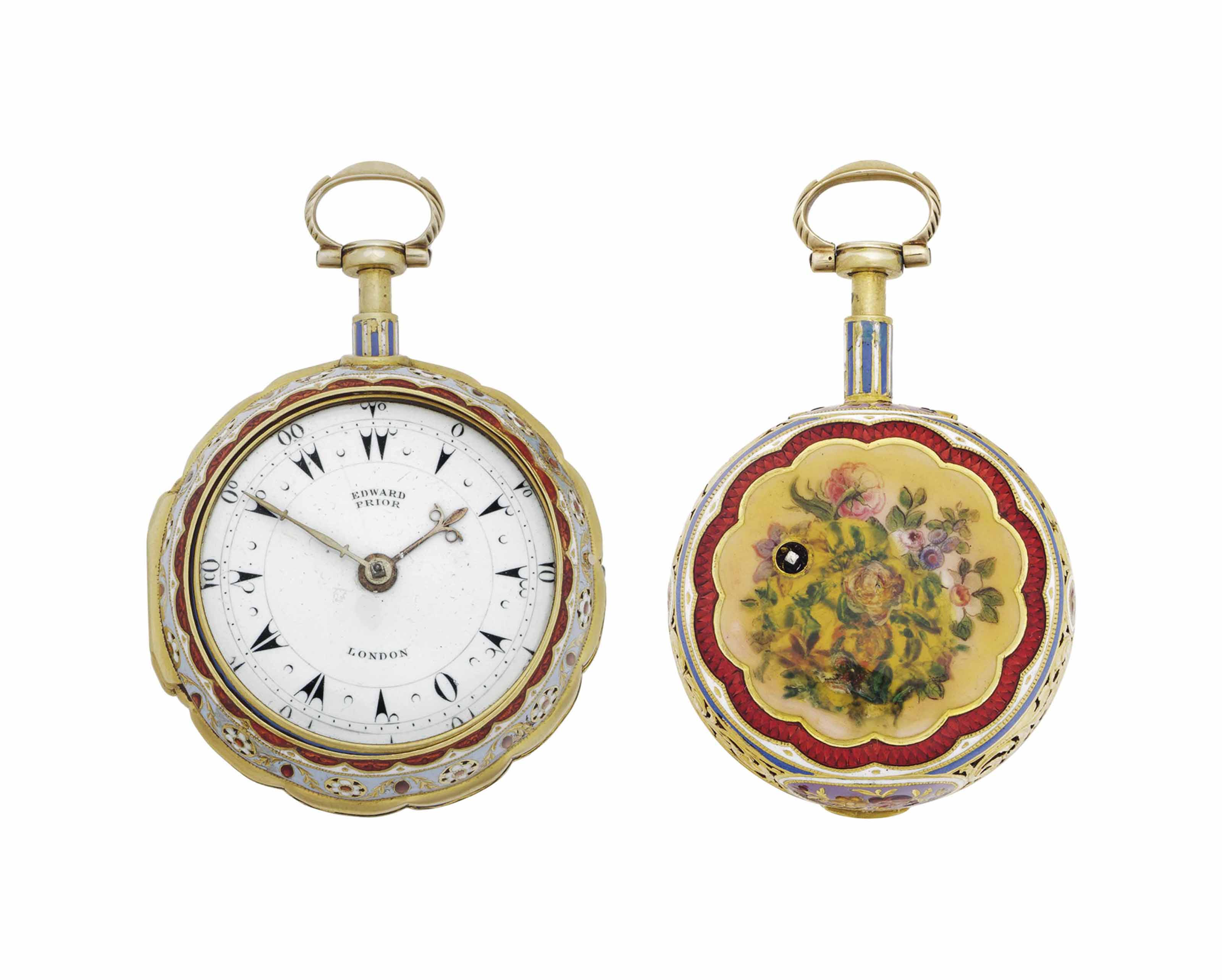 Edward Prior. A Fine 18k Gold and Enamel Pair Case Quarter Repeating Keywound Verge Watch, Made for the Turkish Market