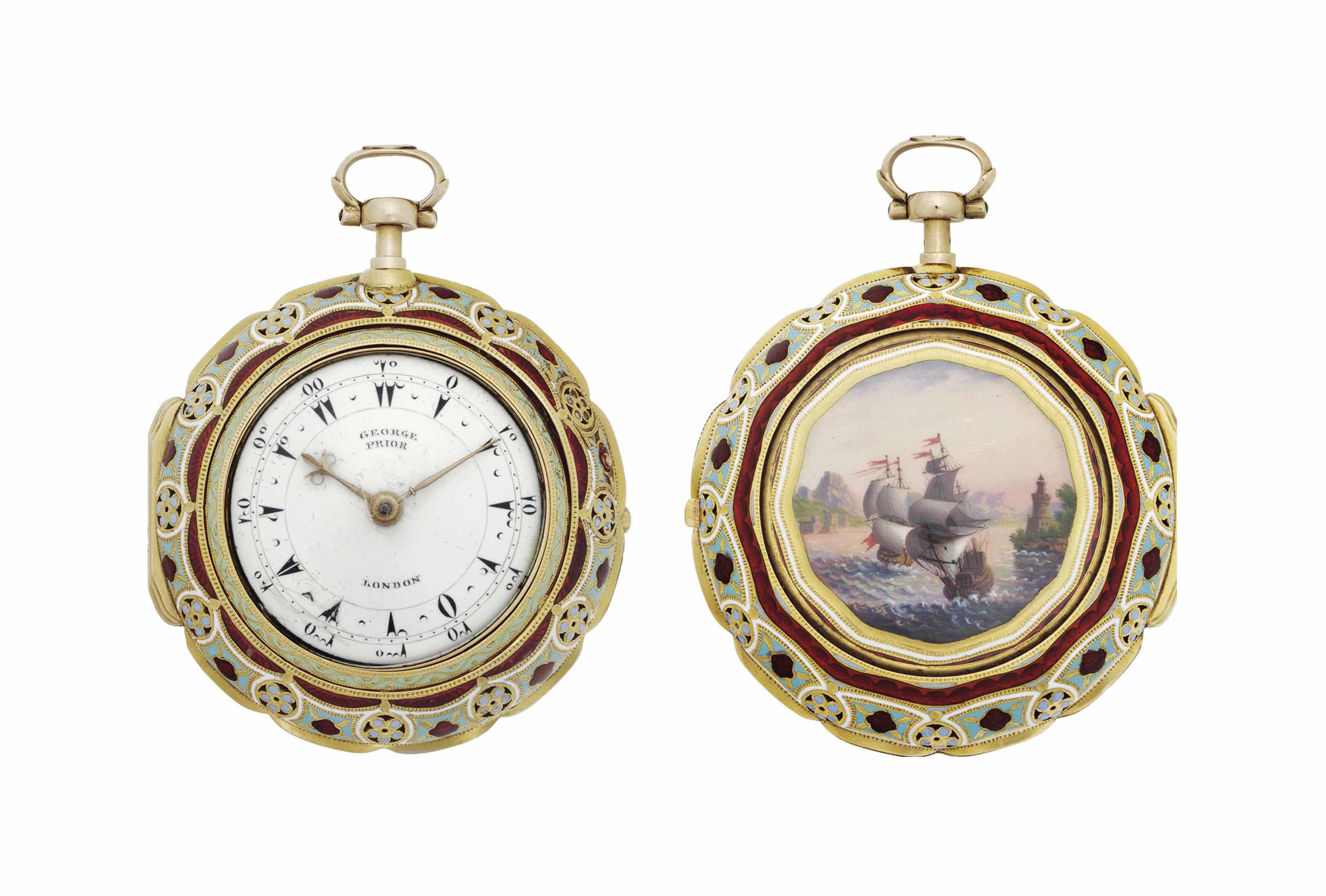 Markwick Markham Perigal. A Fine and Rare 18k Gold and Enamel Triple Case Quarter Repeating Verge Watch Made For The Turkish Market With A Later Dial