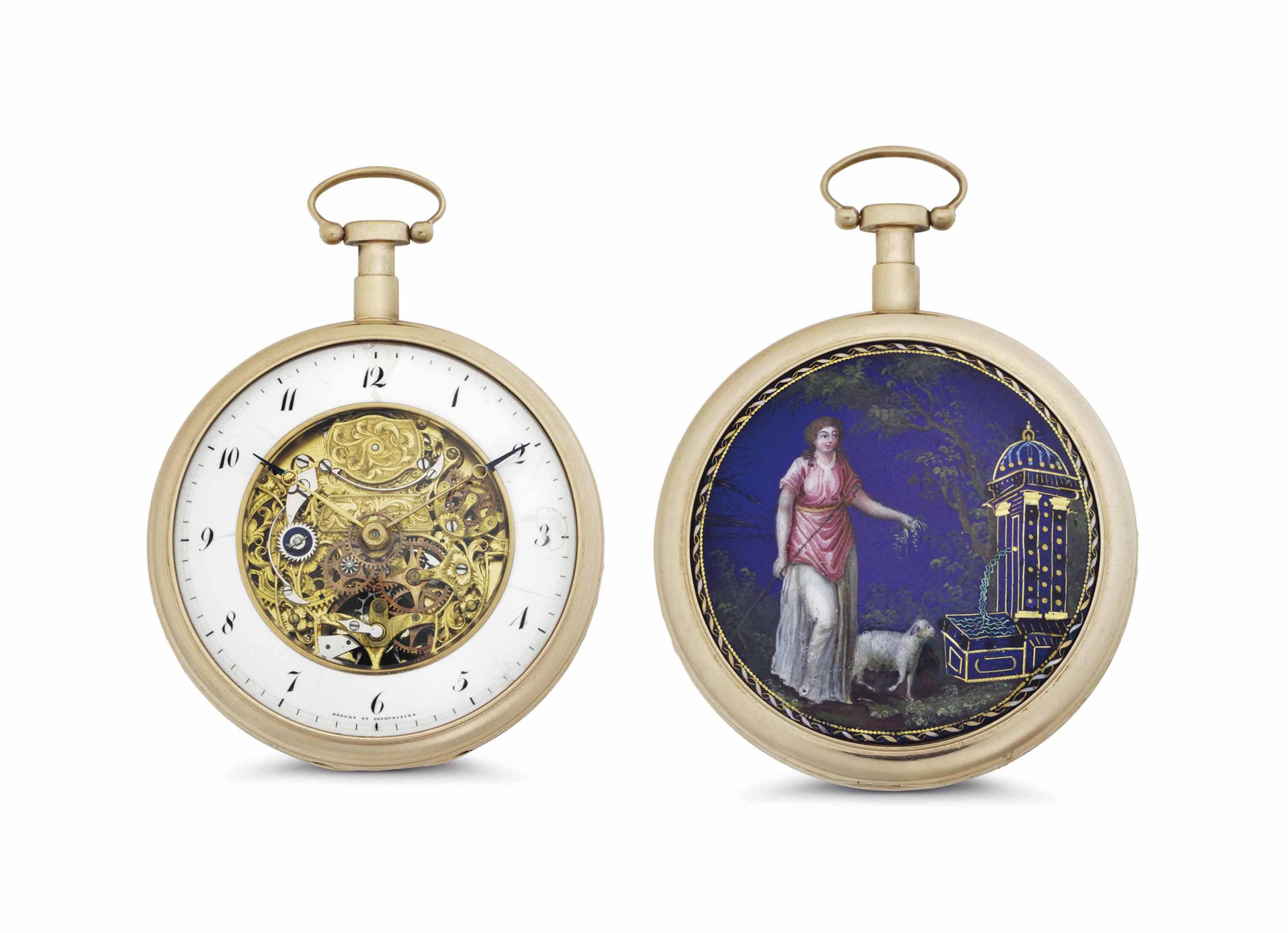Robert et Courvoisier. A Pink Gilt and Enamel Skeletonized Openface Quarter Repeating Keywound Cylinder Pocket Watch