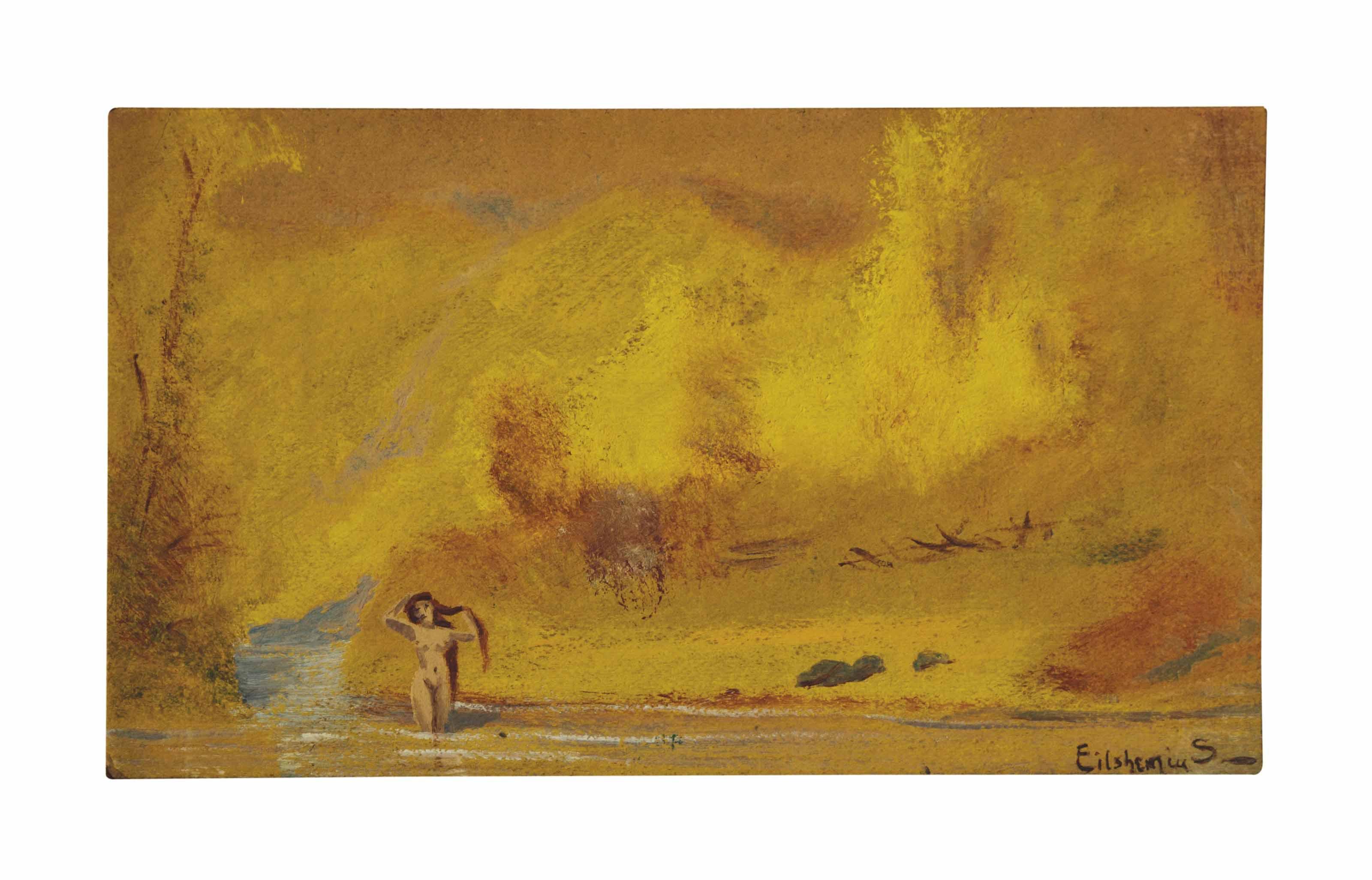 Bather and Golden Landscape