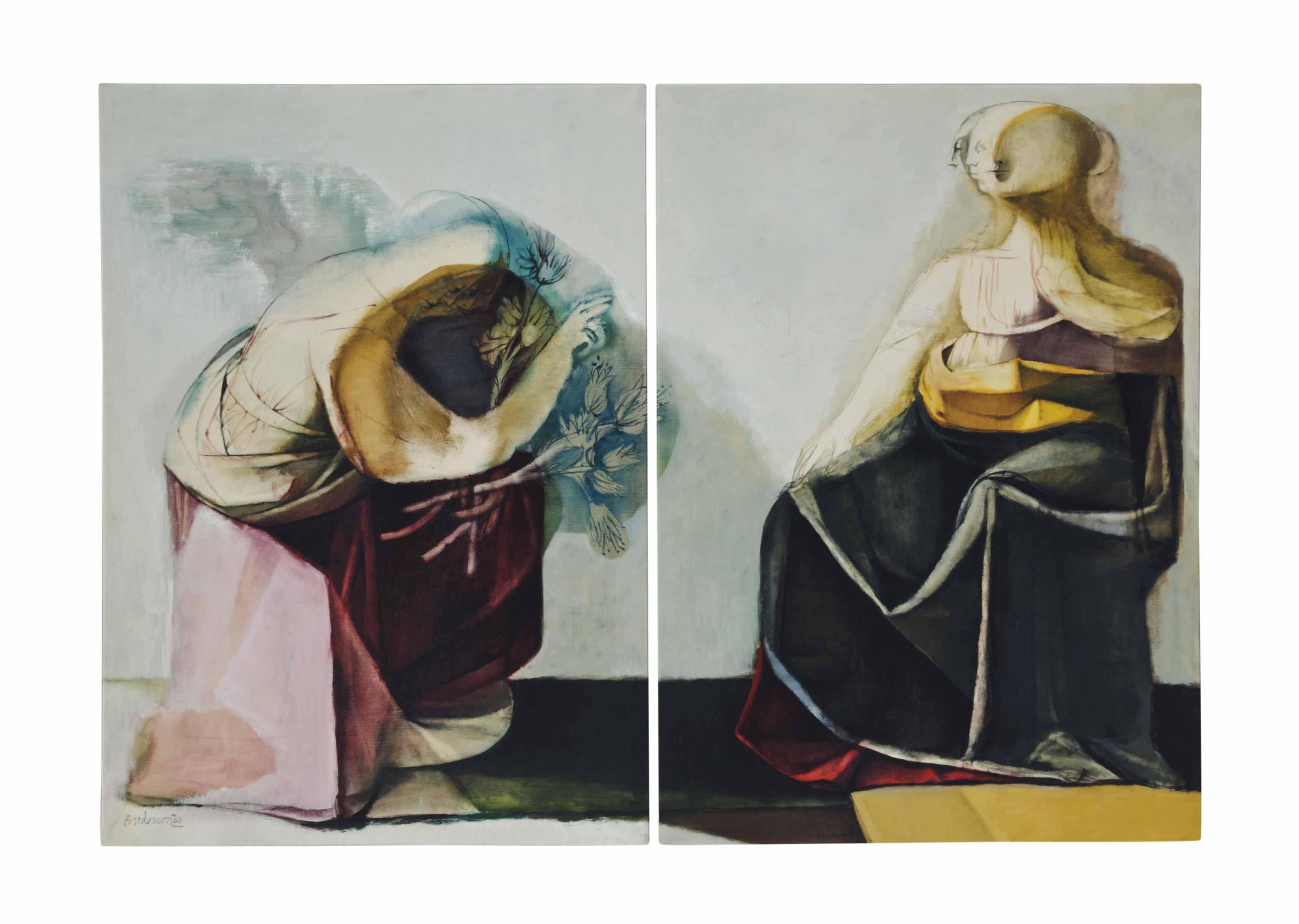 Angel and Holy Mary (After Leonardo Da Vinci): a diptych