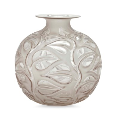 A FRENCH FROSTED GLASS VASE, S