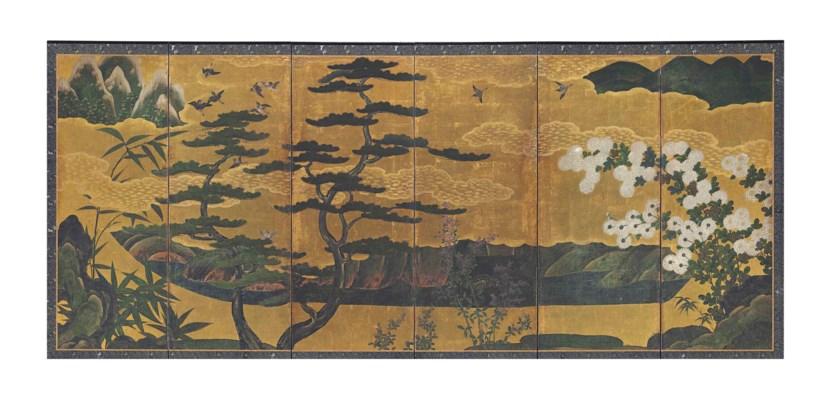 A JAPANESE SIX PANEL FLOOR SCR