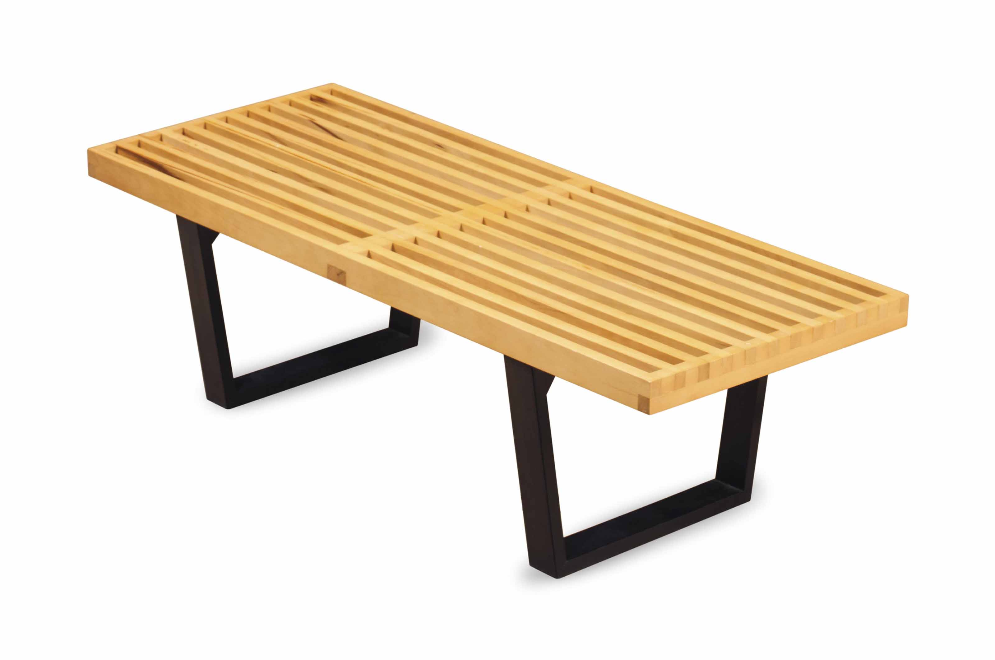 A MAPLE AND EBONIZED BENCH,