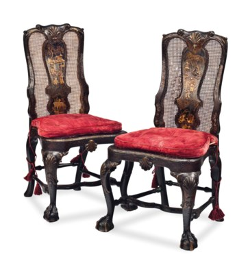 A PAIR OF GEORGE II BLACK AND