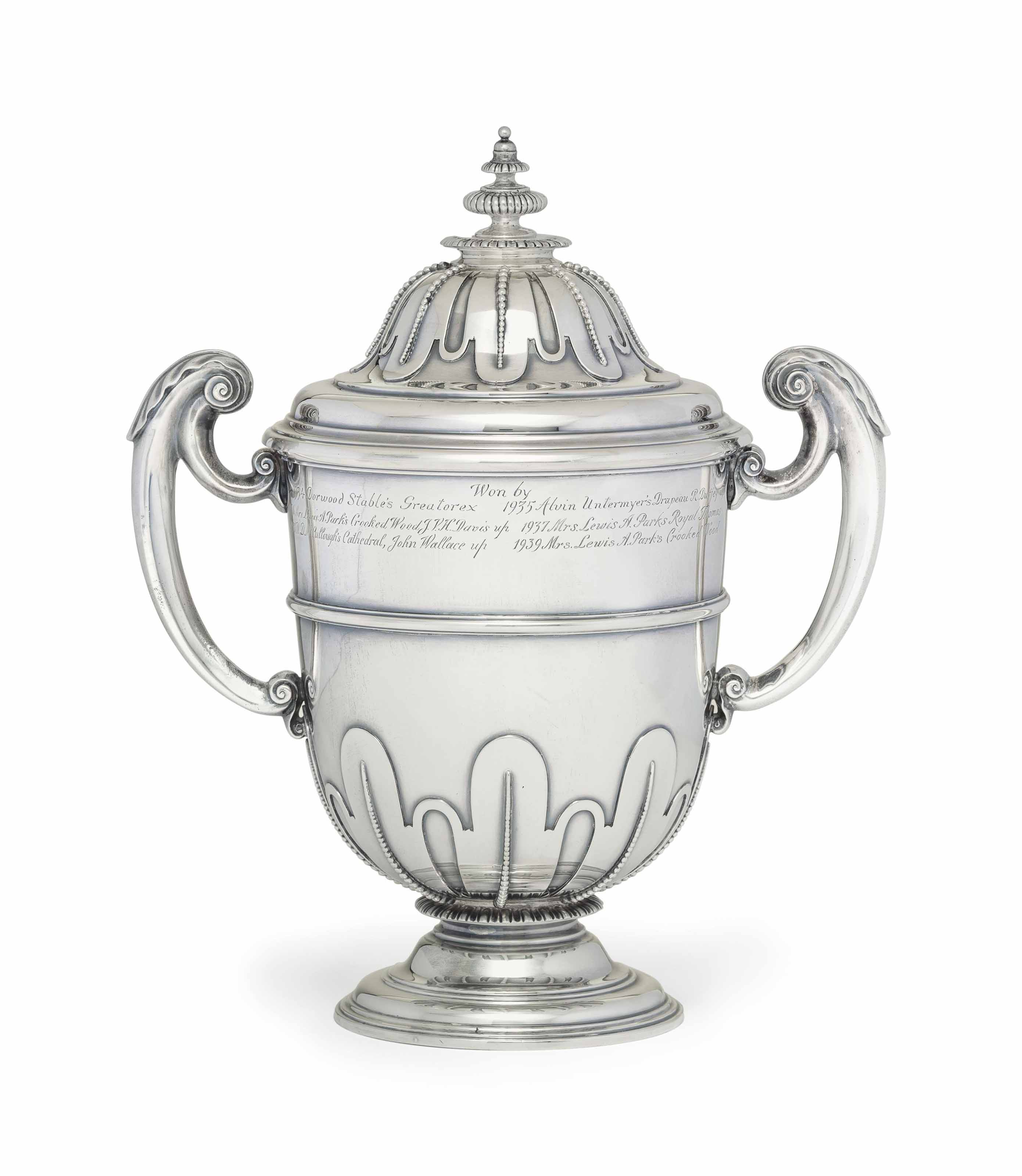 A GEORGE V SILVER TROPHY CUP AND COVER