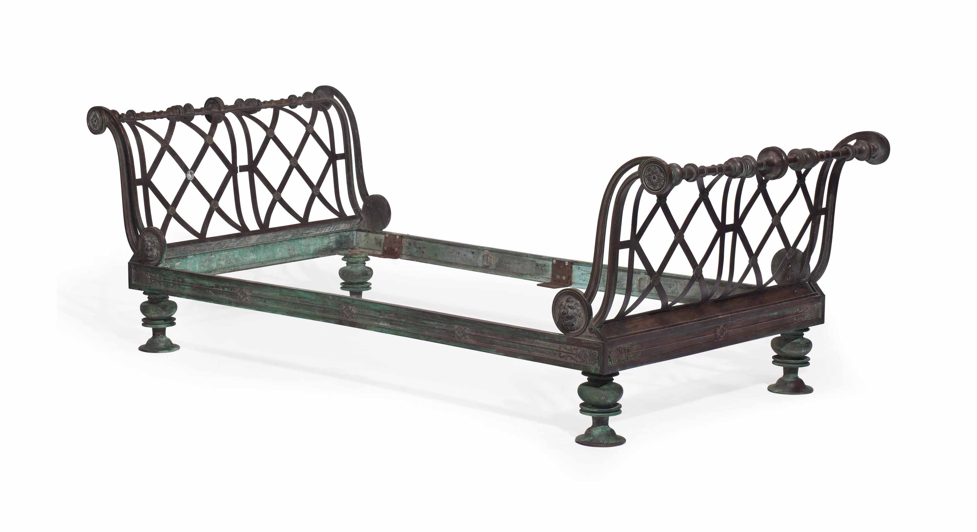AN AMERICAN PATINATED BRONZE DAYBED