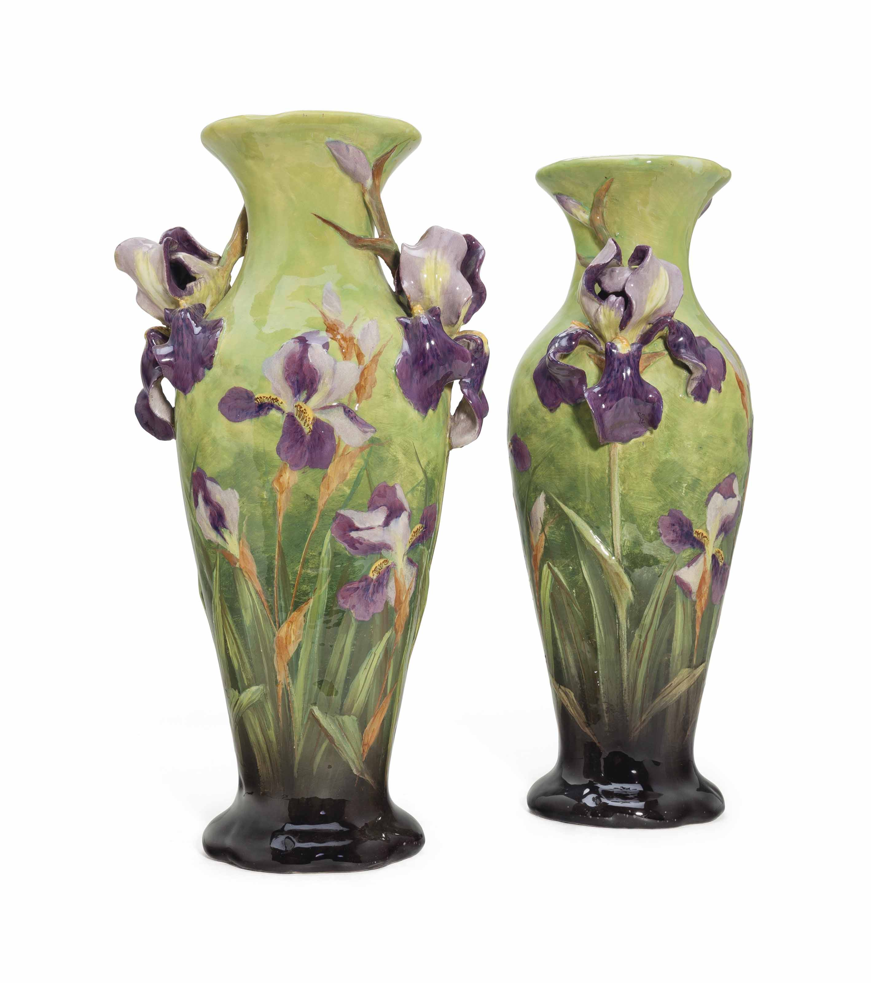 A PAIR OF FRENCH MAJOLICA GRADUATED-GREEN GROUND VASES