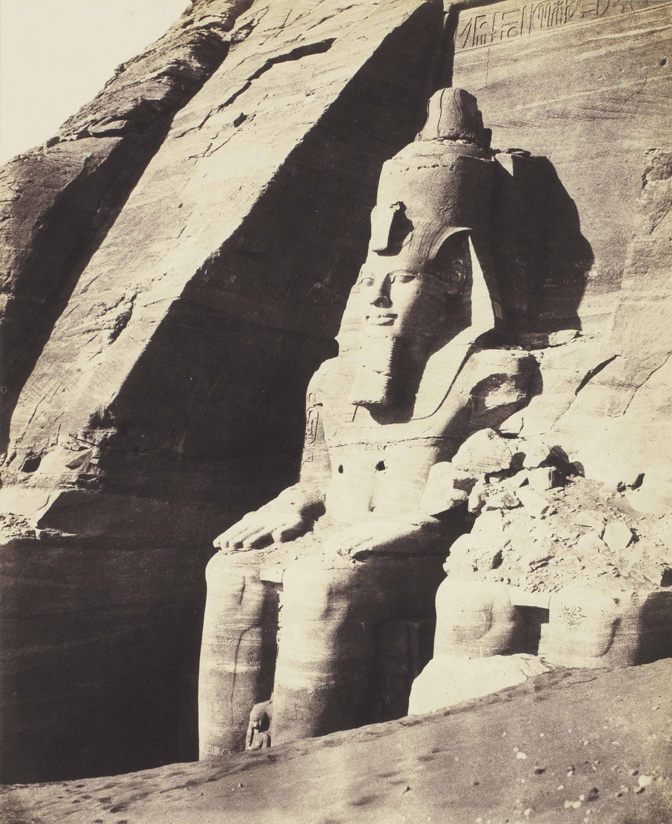 Colossal Statues Seen from Three-Quarters View, the Temple of Ramese at Abu Simbel, c.1851-52