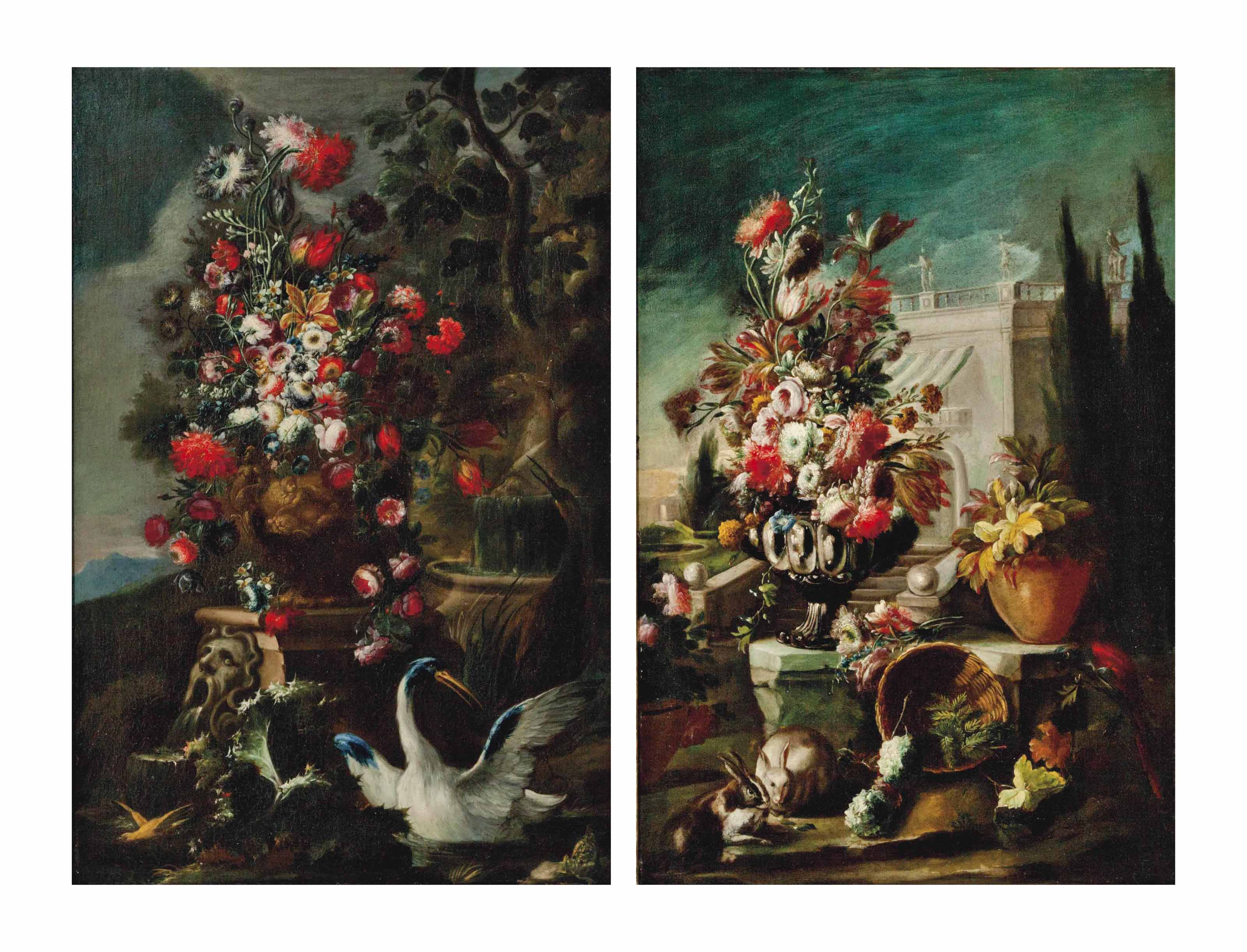 Flowers in a stone vase with exotic birds and a frog, next to a fountain; and Flowers in a silver vessel in a palace garden with a parrot, rabbits and other flowers