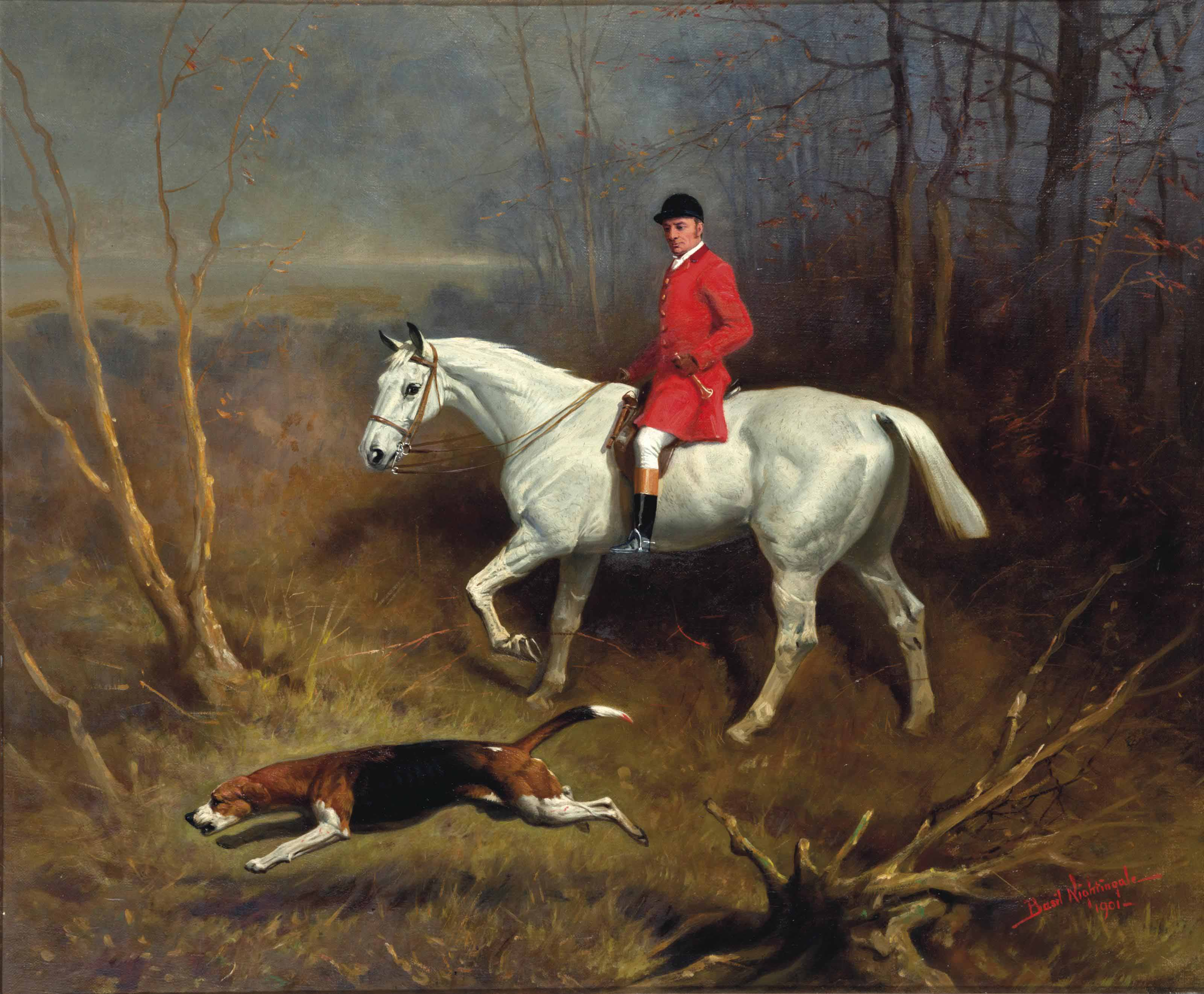 Gillard, Grey Bolt, A Huntsman on a Grey Horse, Riding through a Wood with a Hound on the Scent