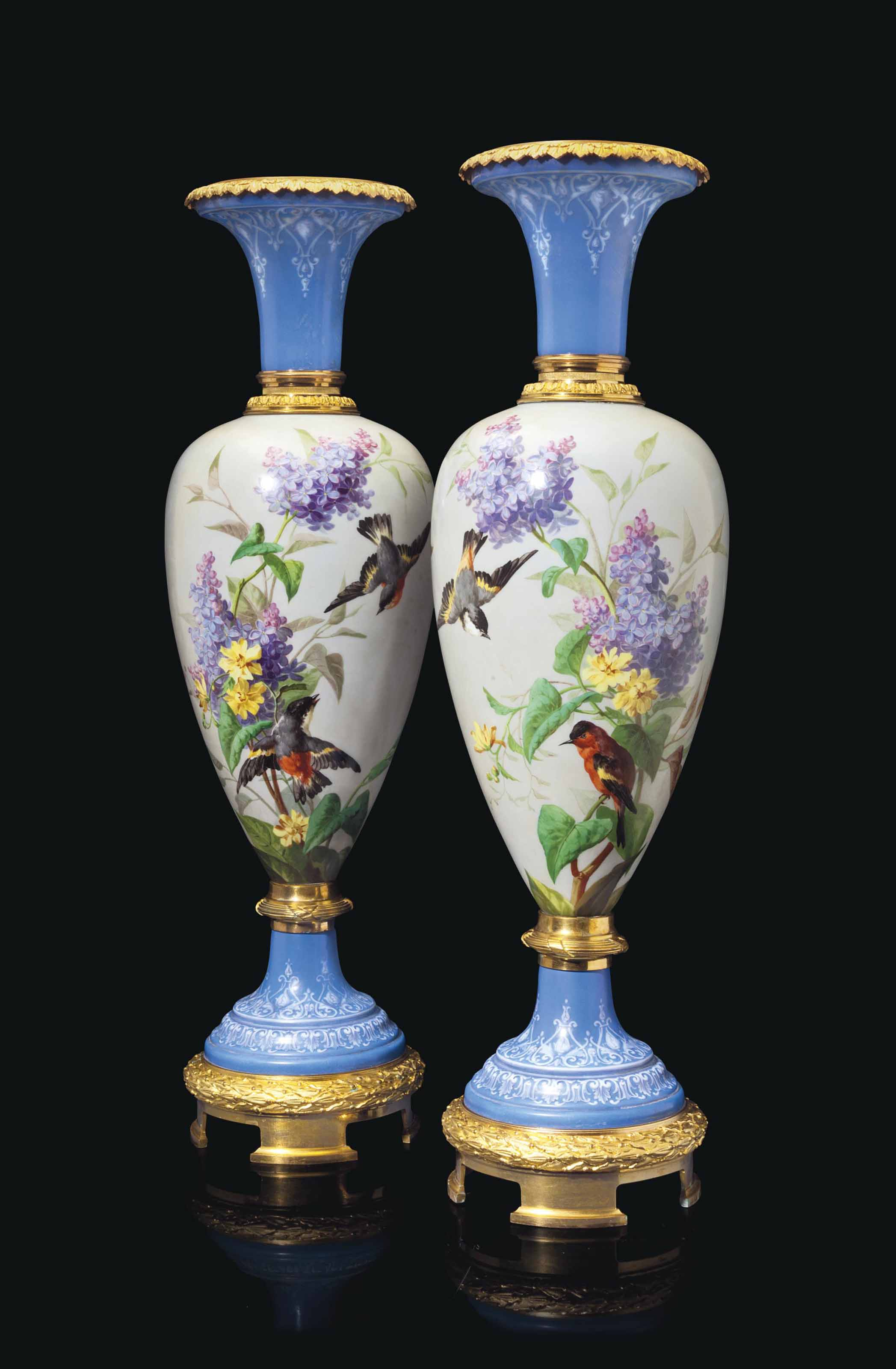 A LARGE PAIR OF ORMOLU-MOUNTED BACCARAT OPAQUE-BLUE GLASS VASES