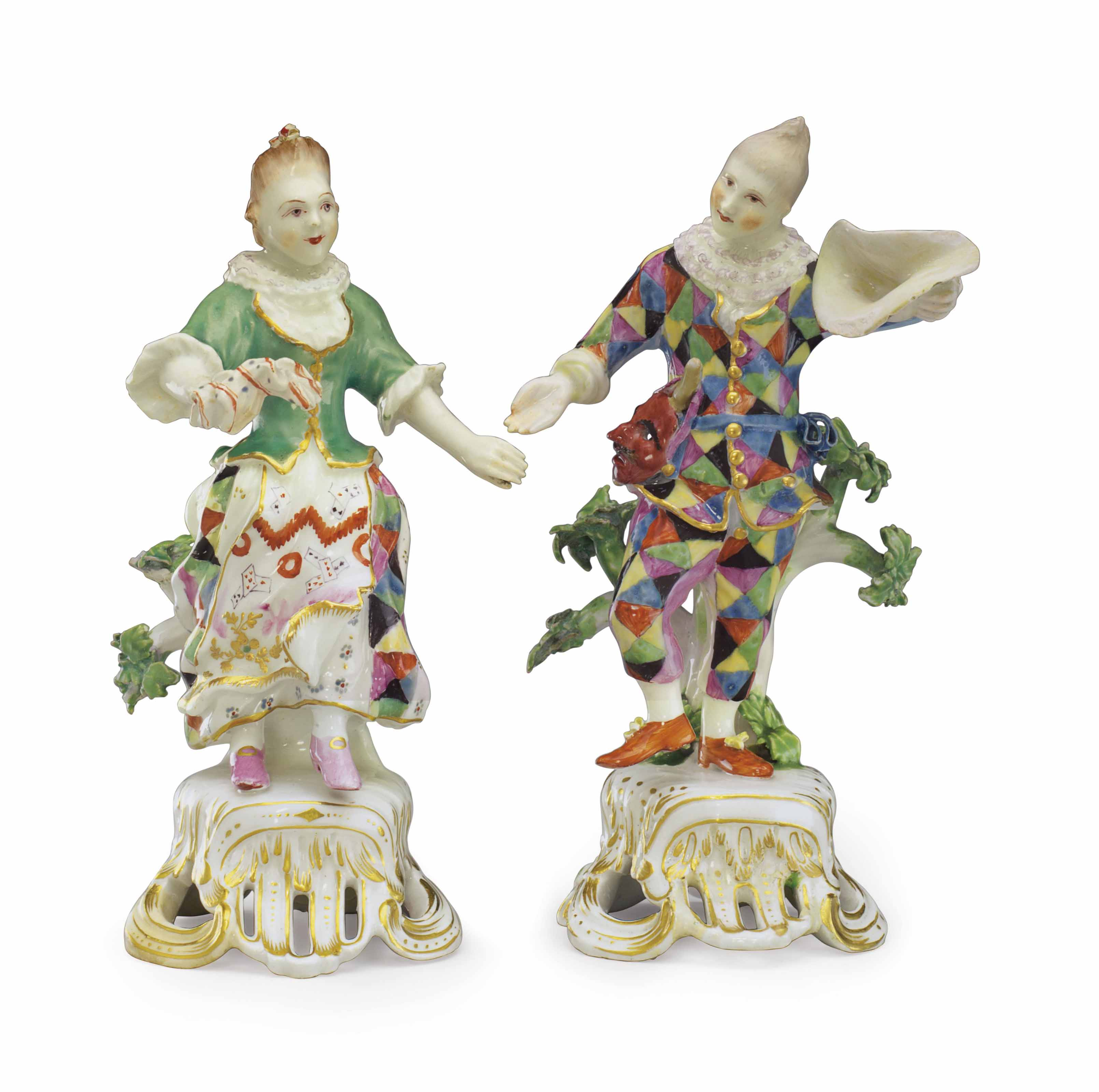 A PAIR OF BOW PORCELAIN COMMEDIA DELL'ARTE FIGURES OF HARLEQUIN AND COLUMBINE