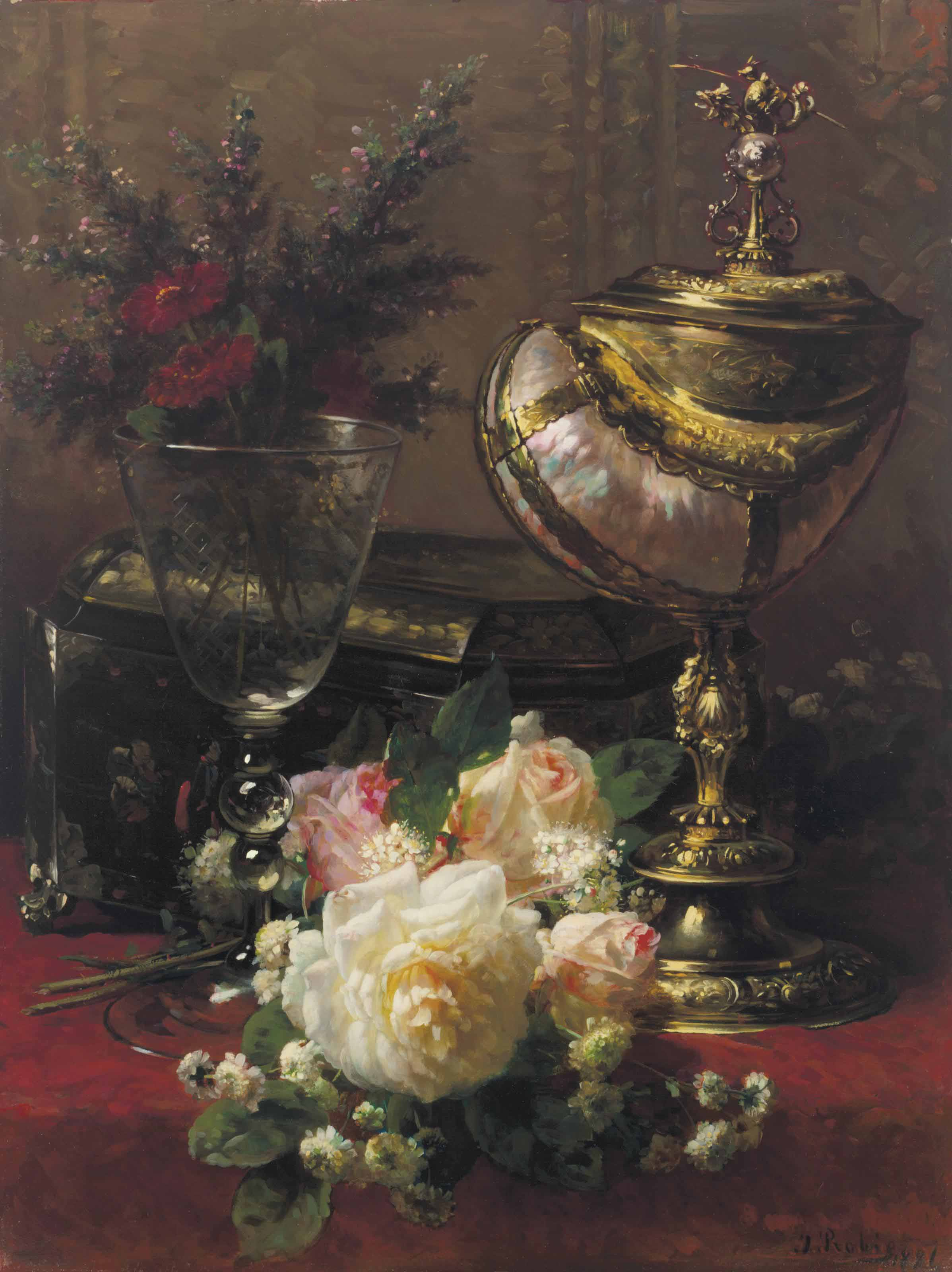 A Bouquet of Roses and other Flowers in a Glass Goblet with a Chinese Lacquer Box and a Nautilus Cup on a Red Velvet draped Table